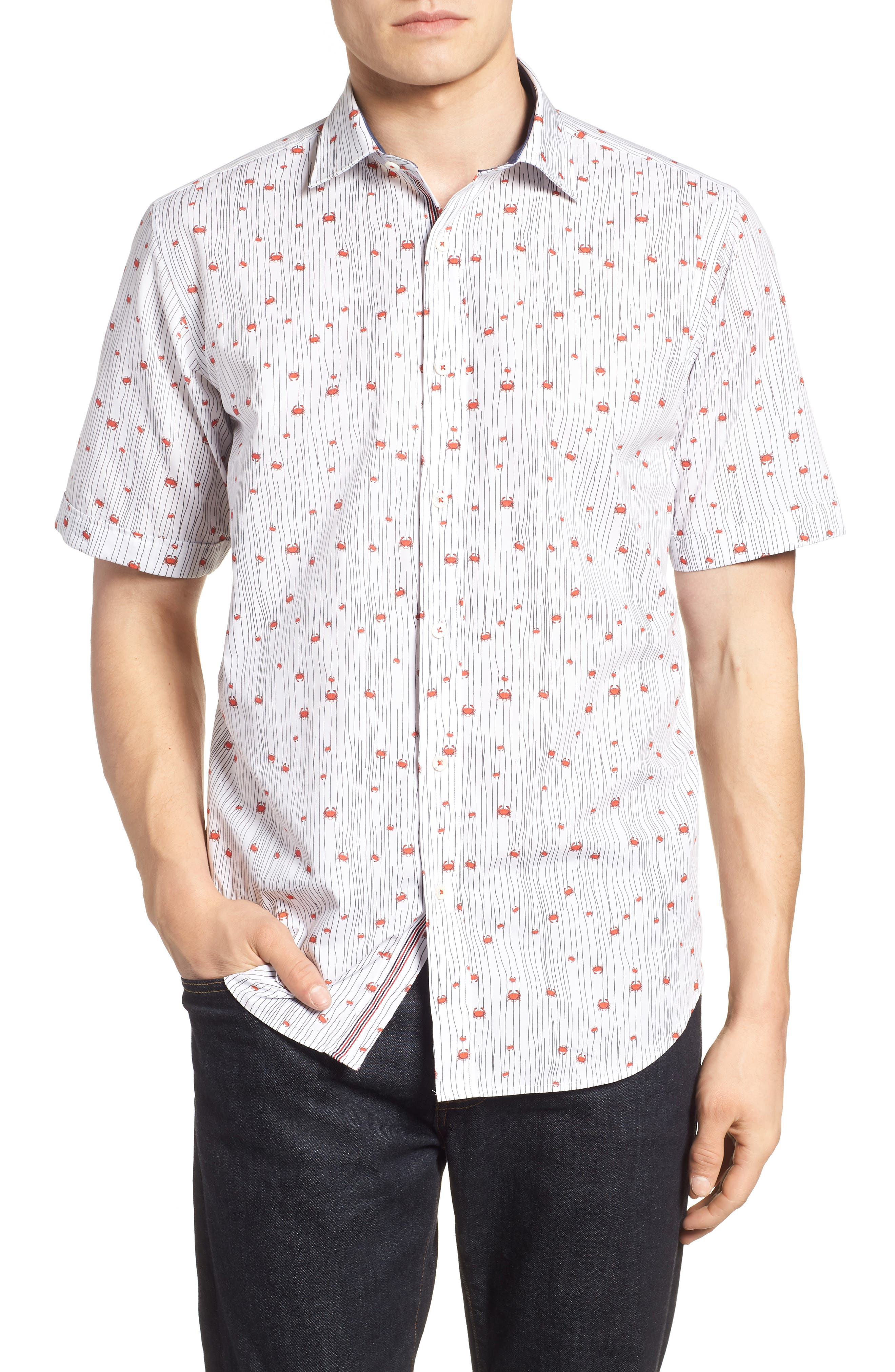 Classic Fit Crab Print Sport Shirt,                         Main,                         color, Chalk
