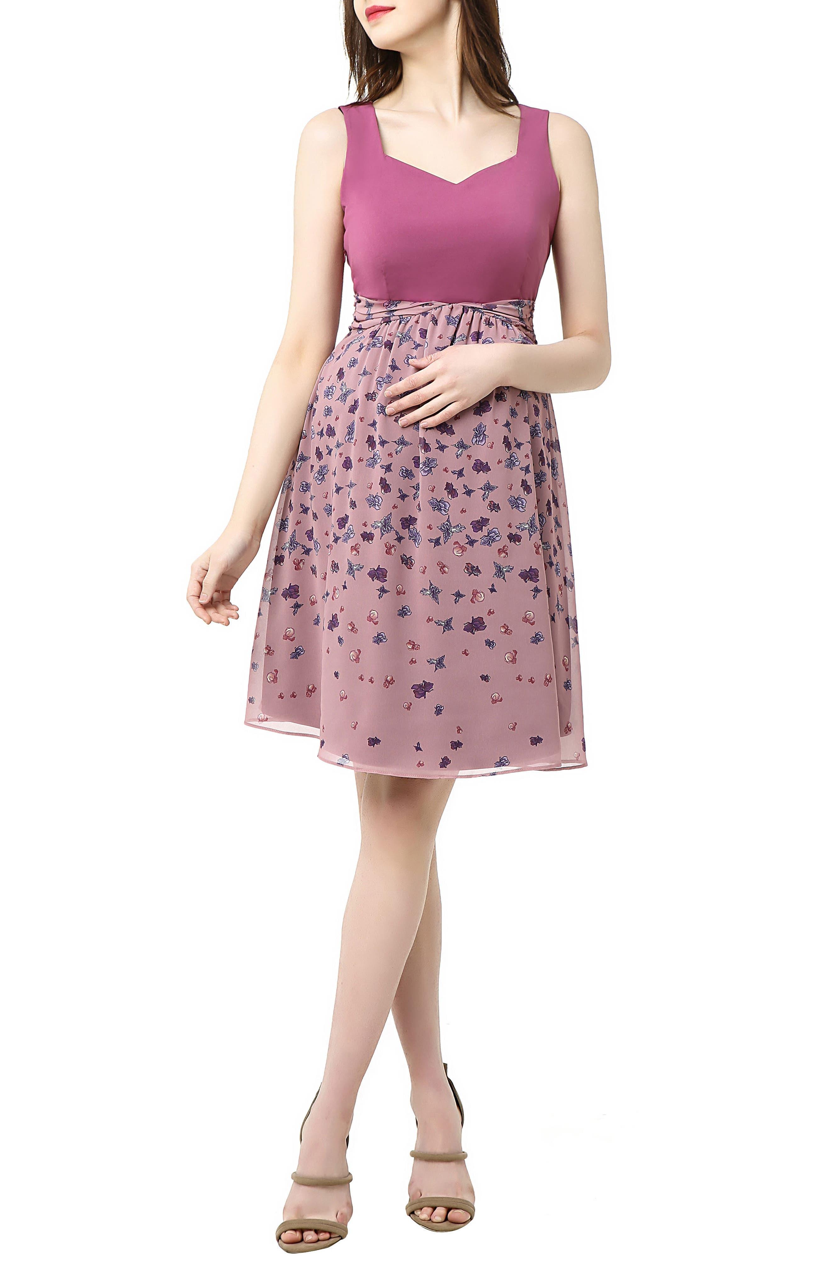 Libby Print Skirt Maternity Dress,                             Main thumbnail 1, color,                             Rose Pink