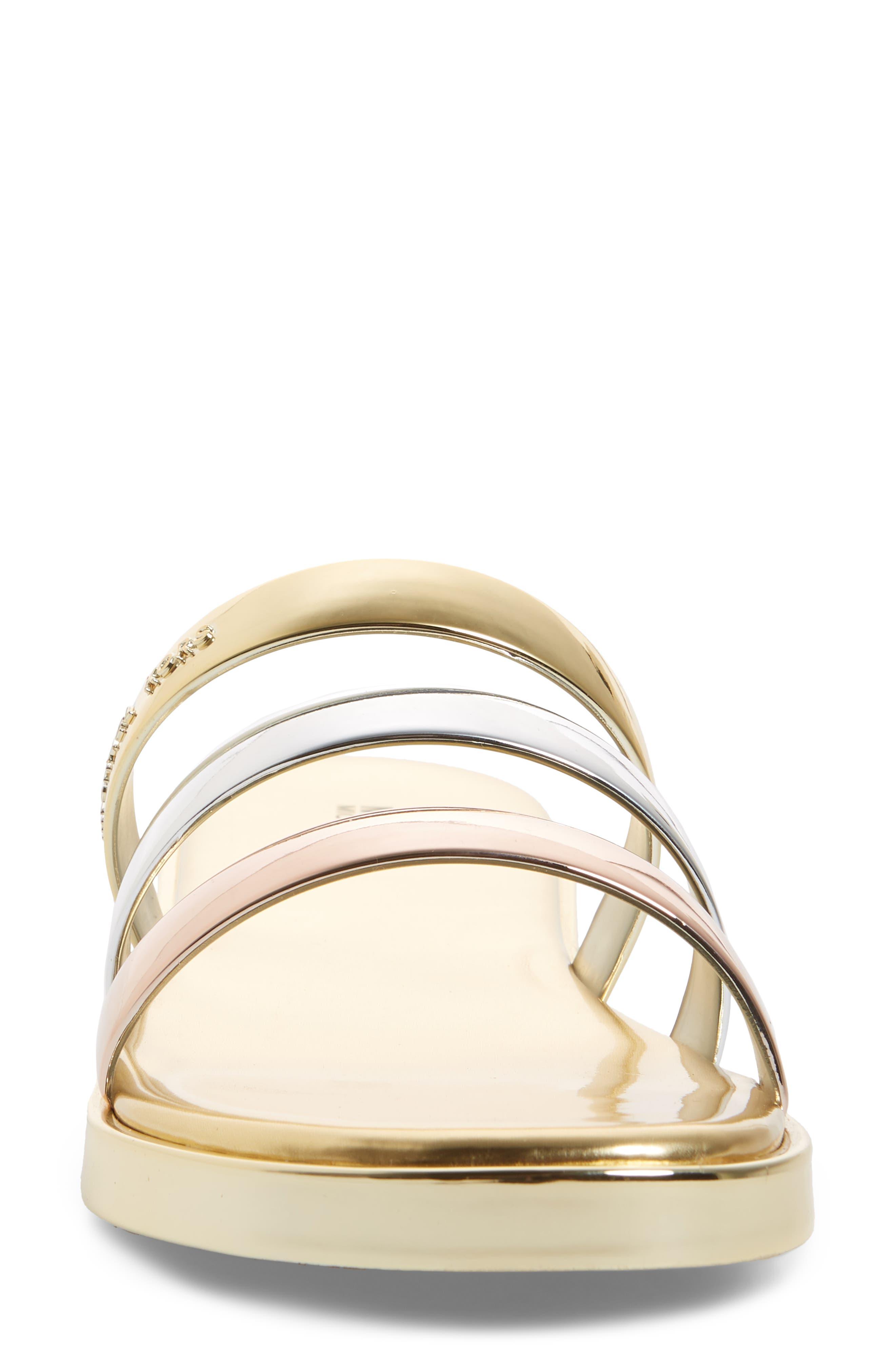 Keiko Triple-Band Slide Sandal,                             Alternate thumbnail 4, color,                             Gold/ Silver