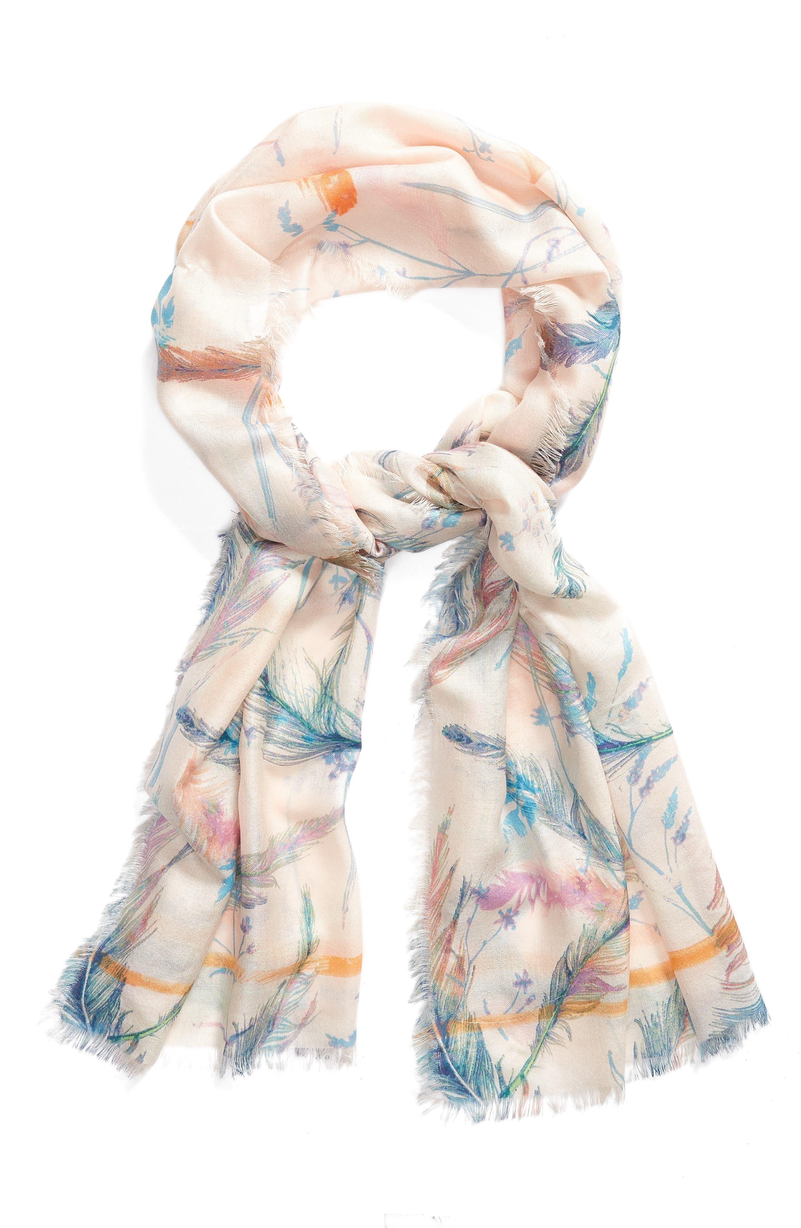 Eyelash Trim Print Cashmere & Silk Wrap,                             Alternate thumbnail 2, color,                             Pink Fanciful Feathers