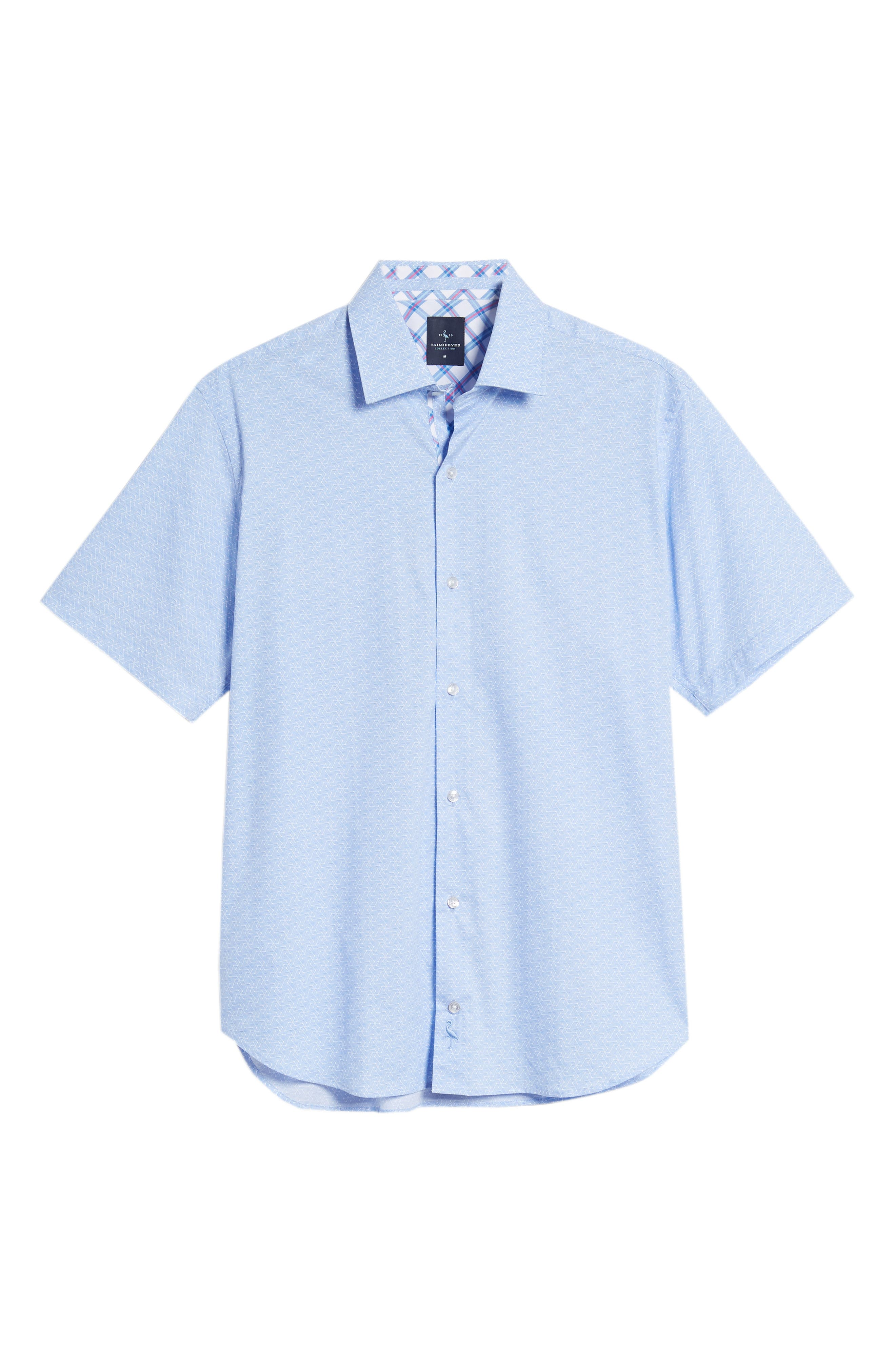 Acton Regular Fit Geo Print Sport Shirt,                             Alternate thumbnail 6, color,                             Light Blue
