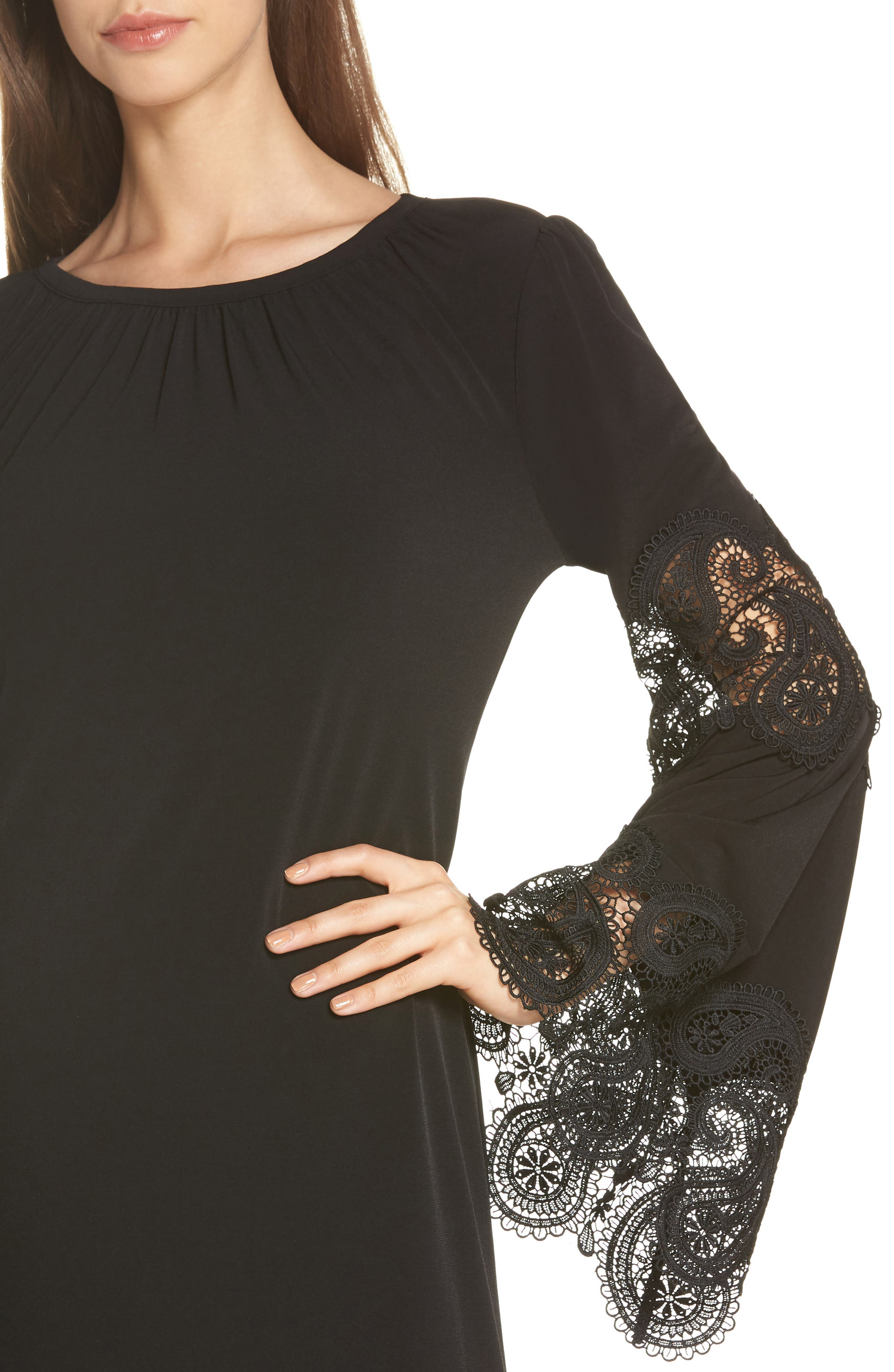 Lace Inset Bell Sleeve Shift Dress,                             Alternate thumbnail 4, color,                             Black