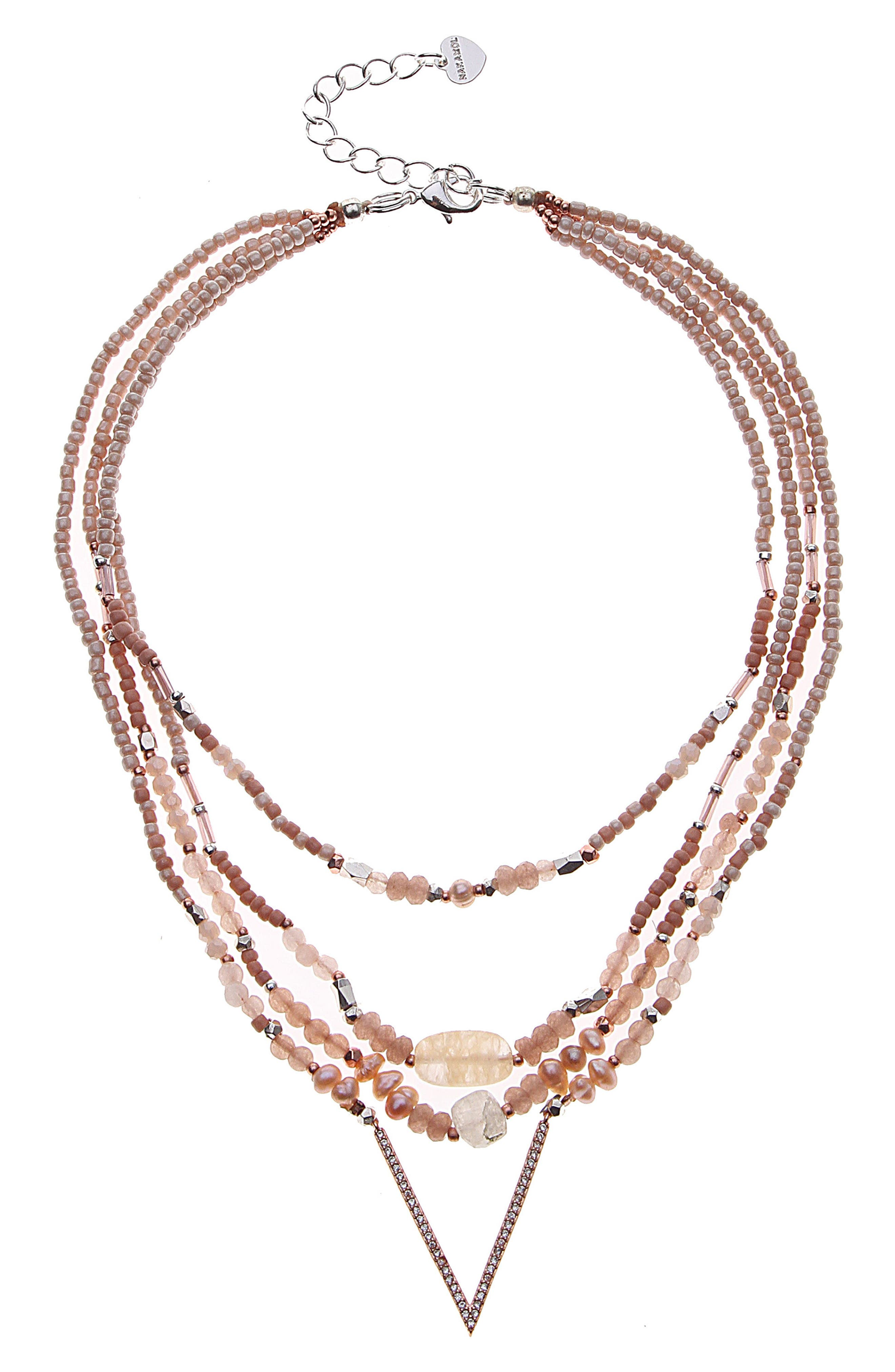 Crystal & Freshwater Pearl Multistrand Pendant Necklace,                         Main,                         color, Nude