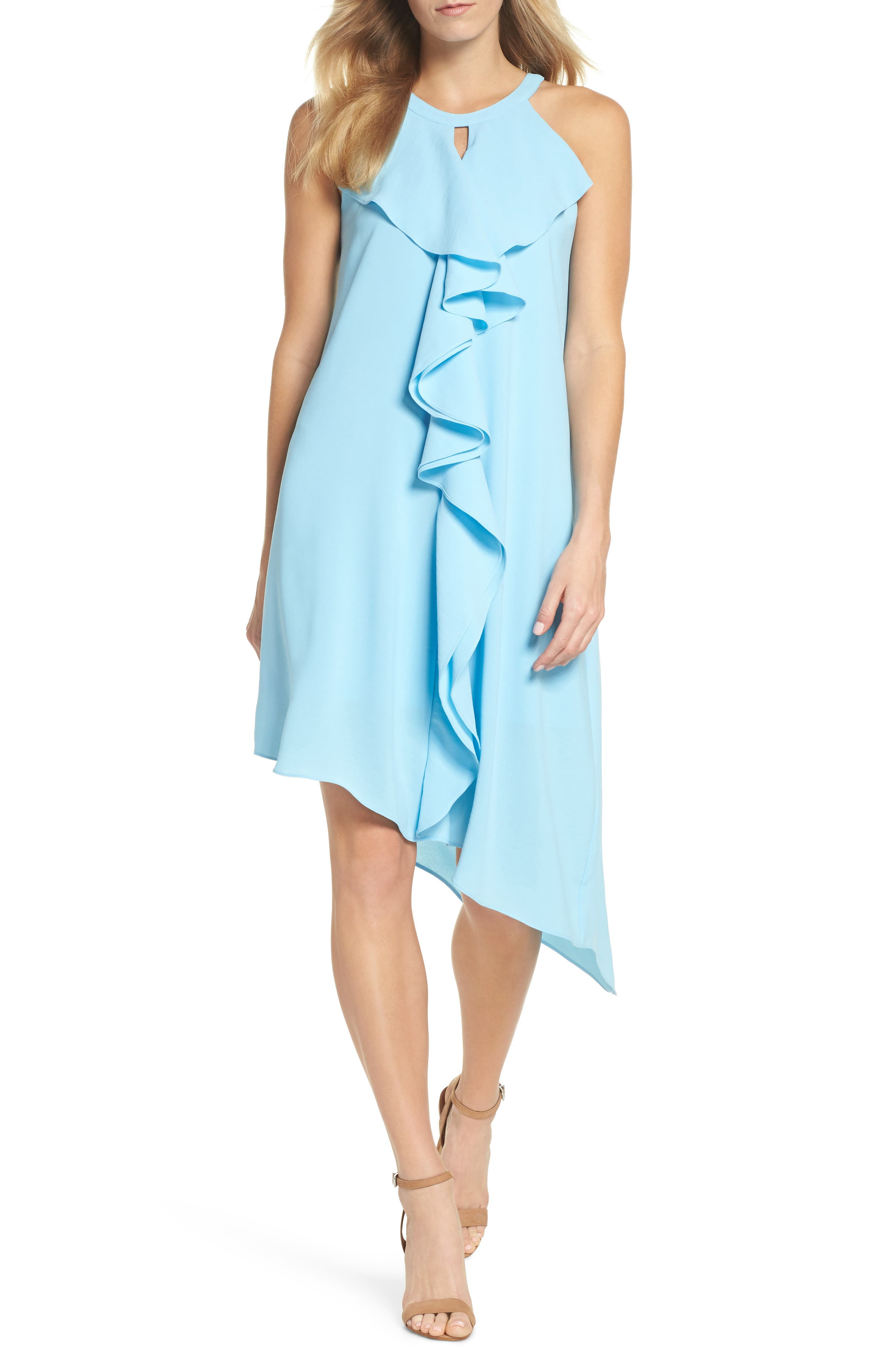 Double Ruffle Gauzy Crepe Shift Dress,                             Main thumbnail 1, color,                             Azure Mist