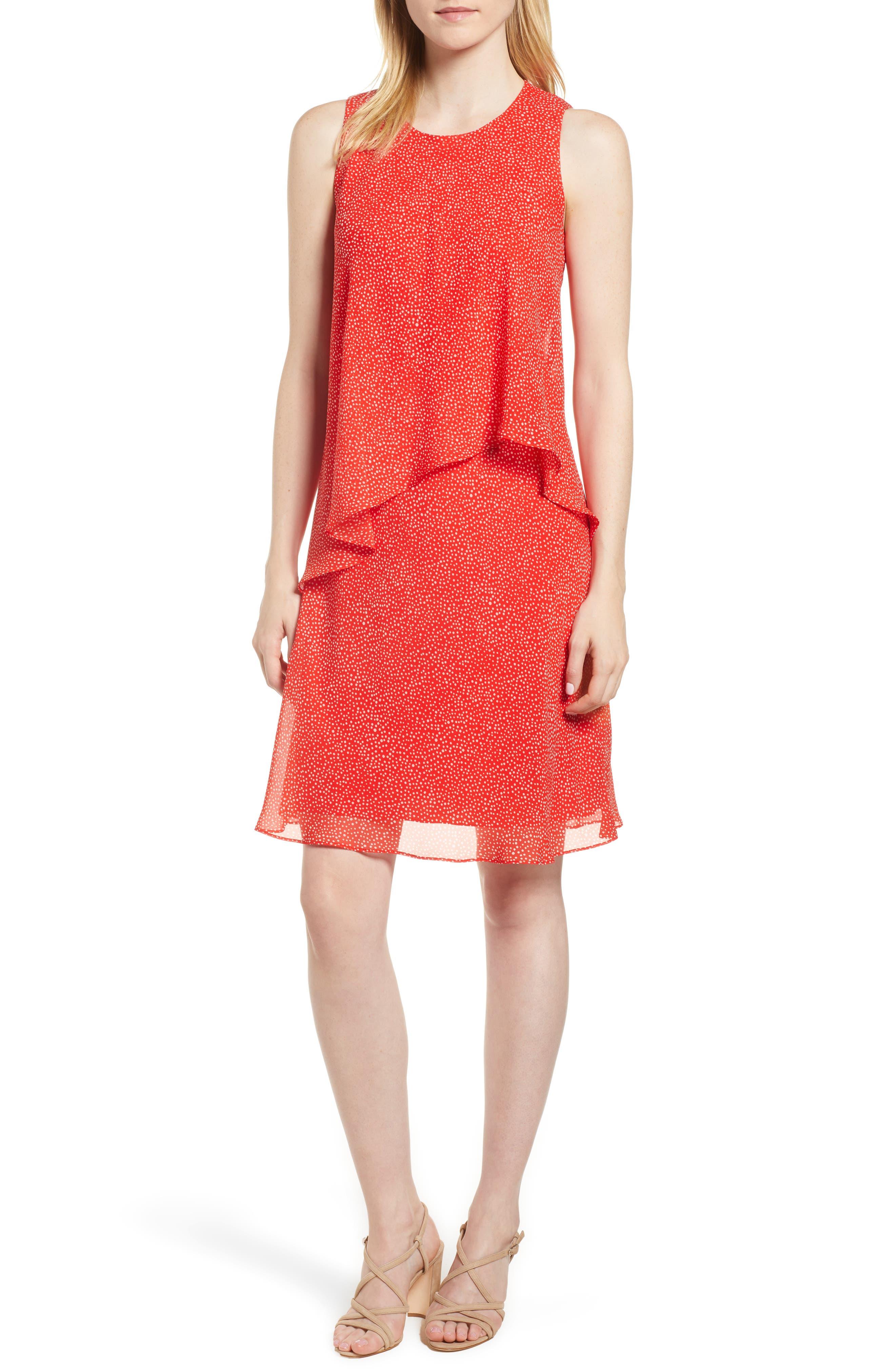Chiffon Overlay A-Line Dress,                         Main,                         color, Tomato/ White