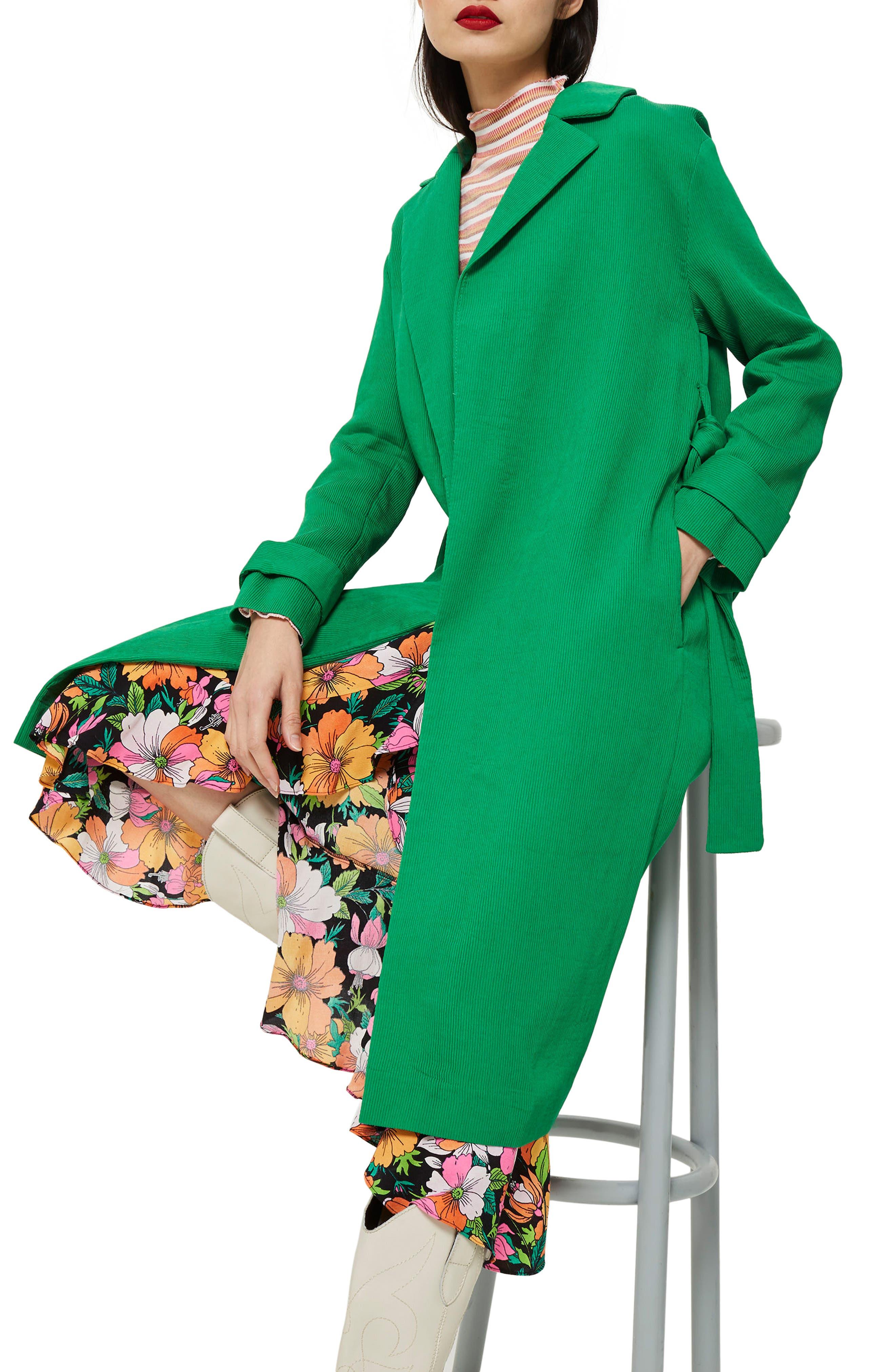 Plissé Belted Duster Coat,                             Main thumbnail 1, color,                             Green