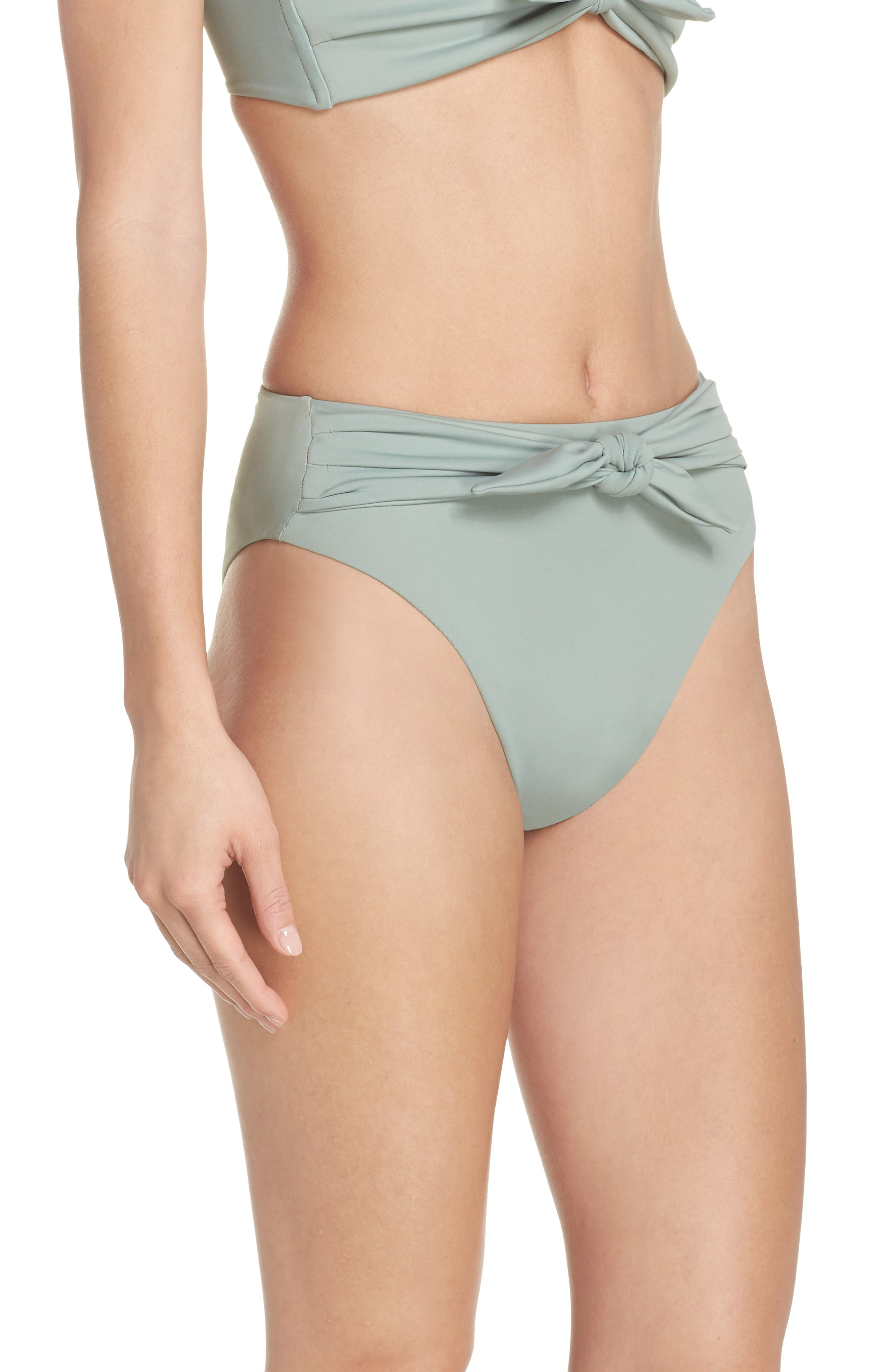 Paula Tie-Up Bikini Bottoms,                             Alternate thumbnail 3, color,                             Pistache Green
