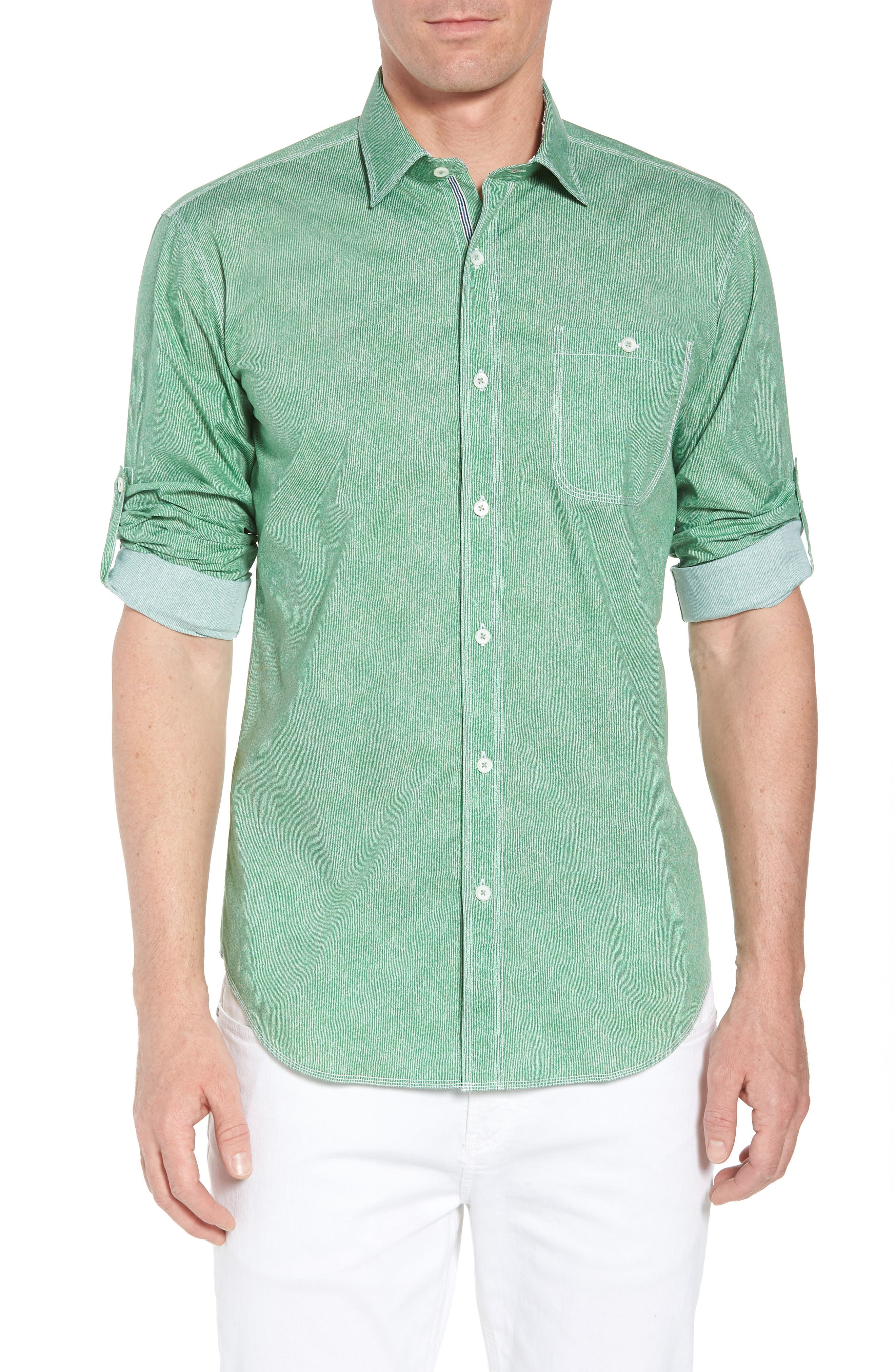 Shaped Fit Striated Print Sport Shirt,                             Main thumbnail 1, color,                             Paradise