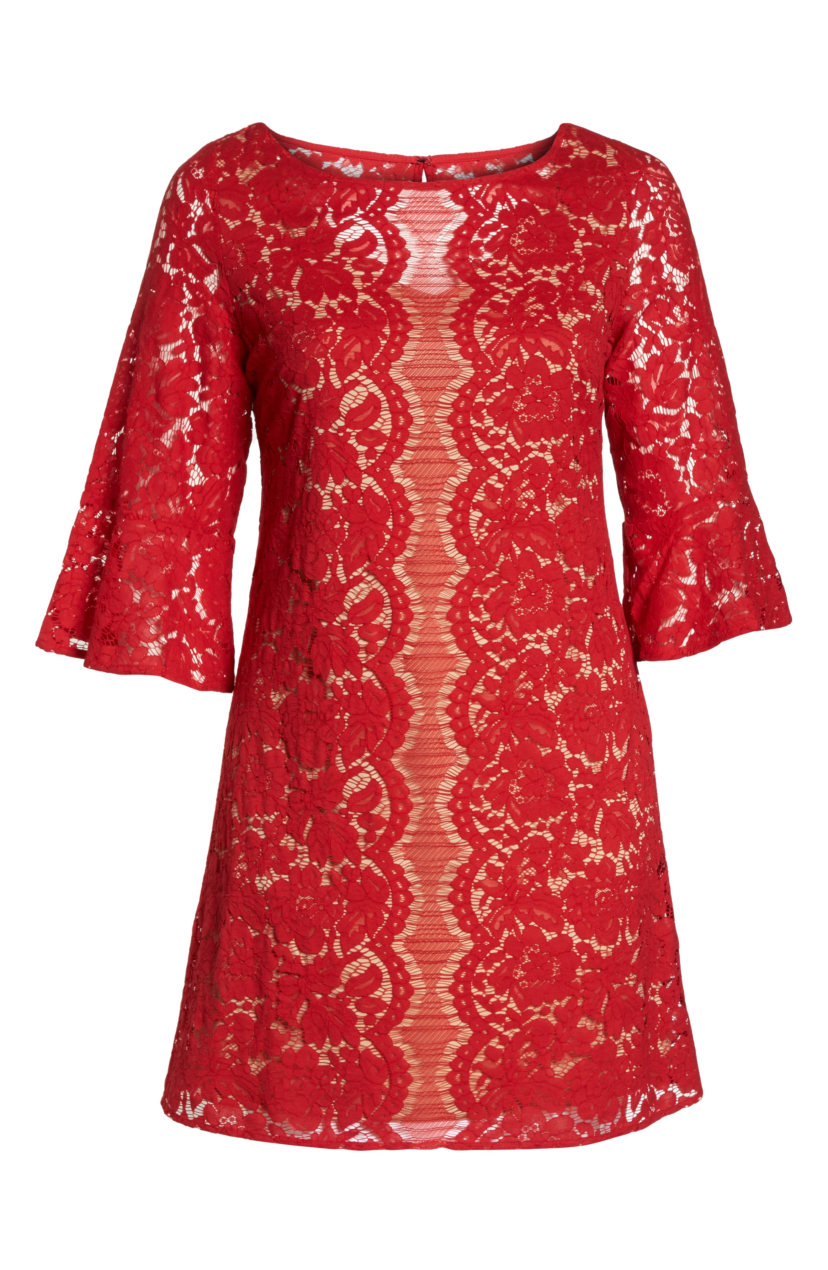 Bell Sleeve Lace Trapeze Dress,                             Alternate thumbnail 7, color,                             Red/ Cafe Mocha