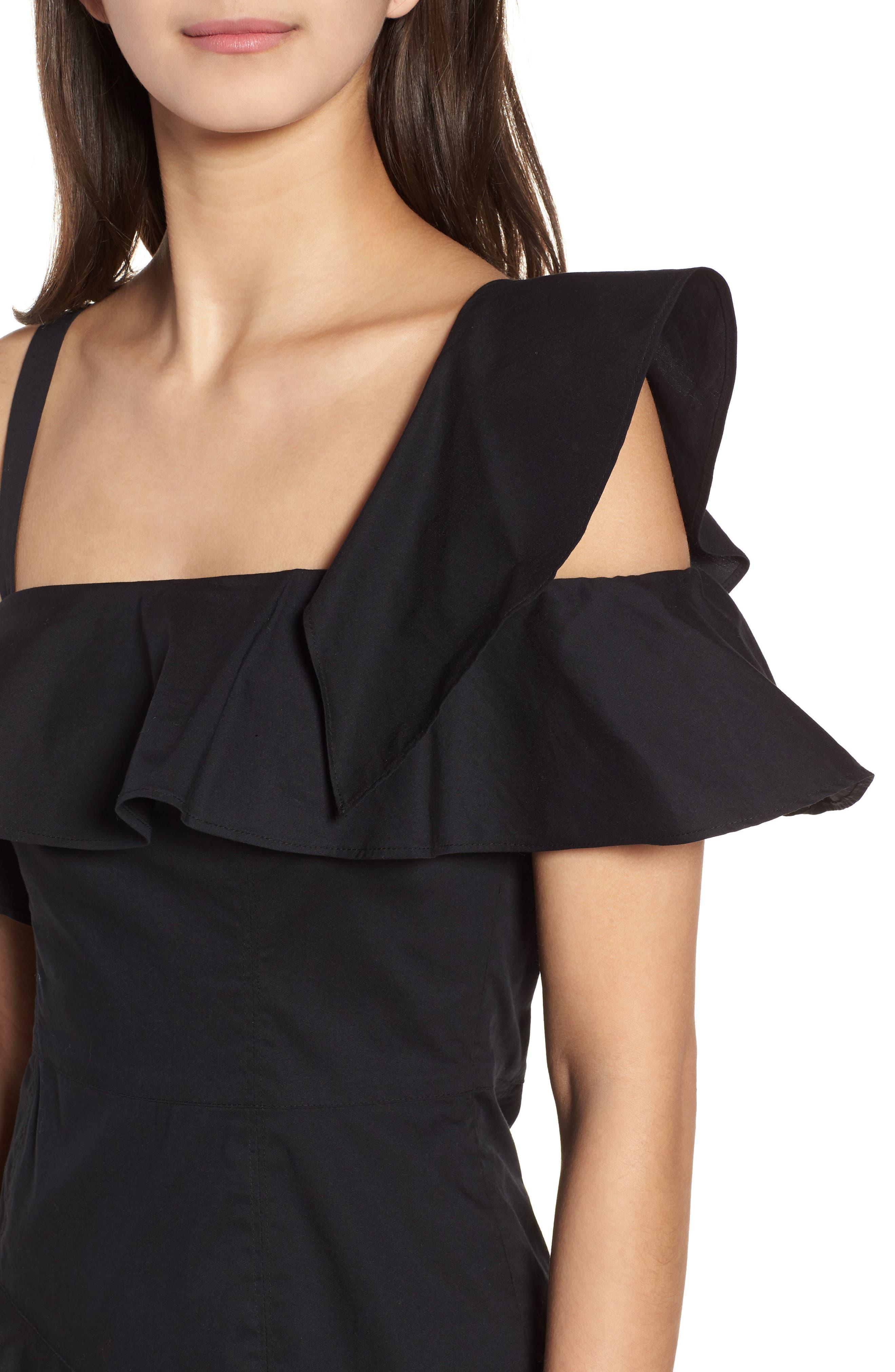 Ruffle One-Shoulder Dress,                             Alternate thumbnail 4, color,                             Black