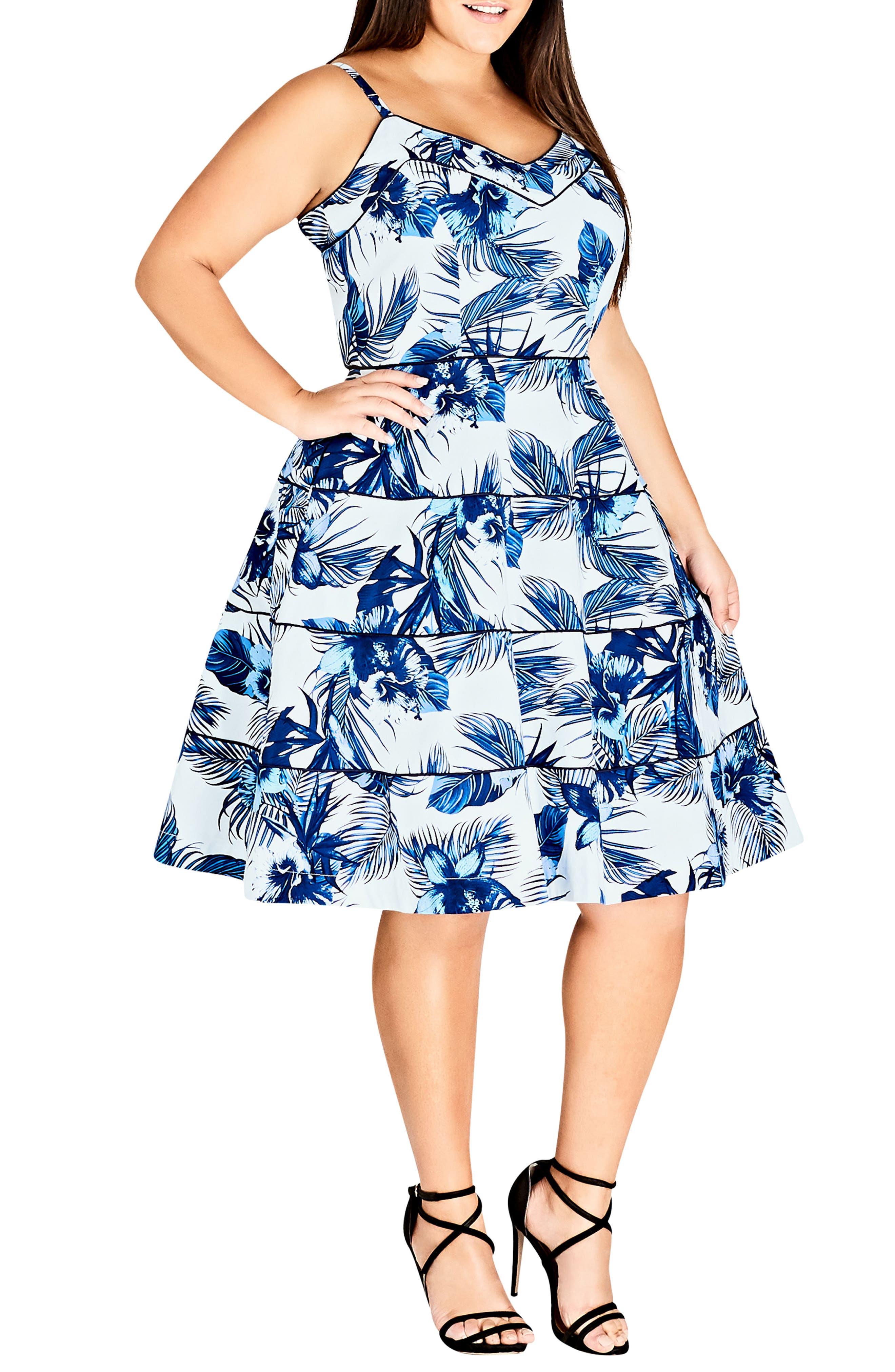 Blue Hawaii Fit & Flare Dress,                         Main,                         color, Hawaii