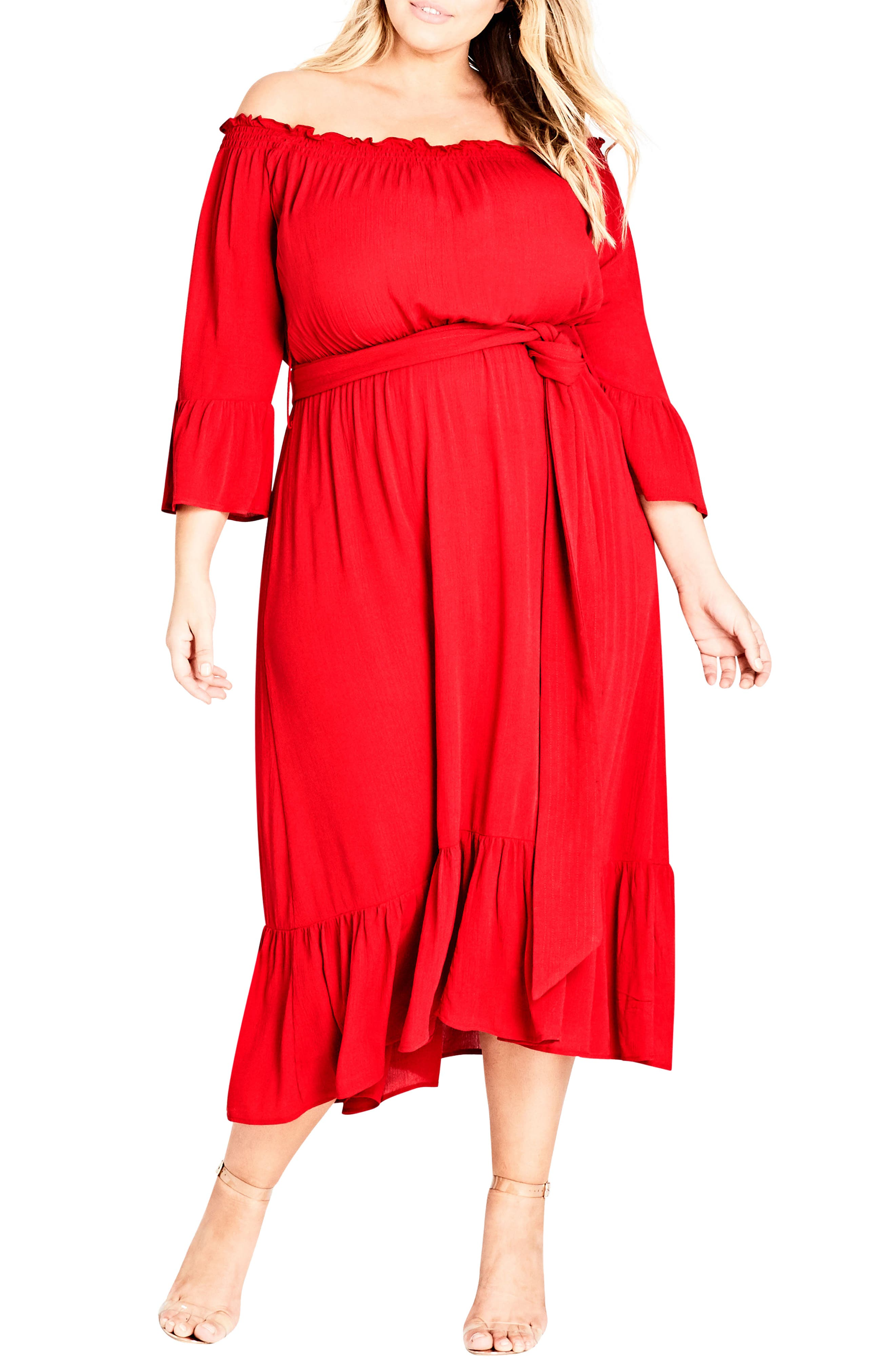 City Chic Off the Shoulder Midi Dress (Plus Size)