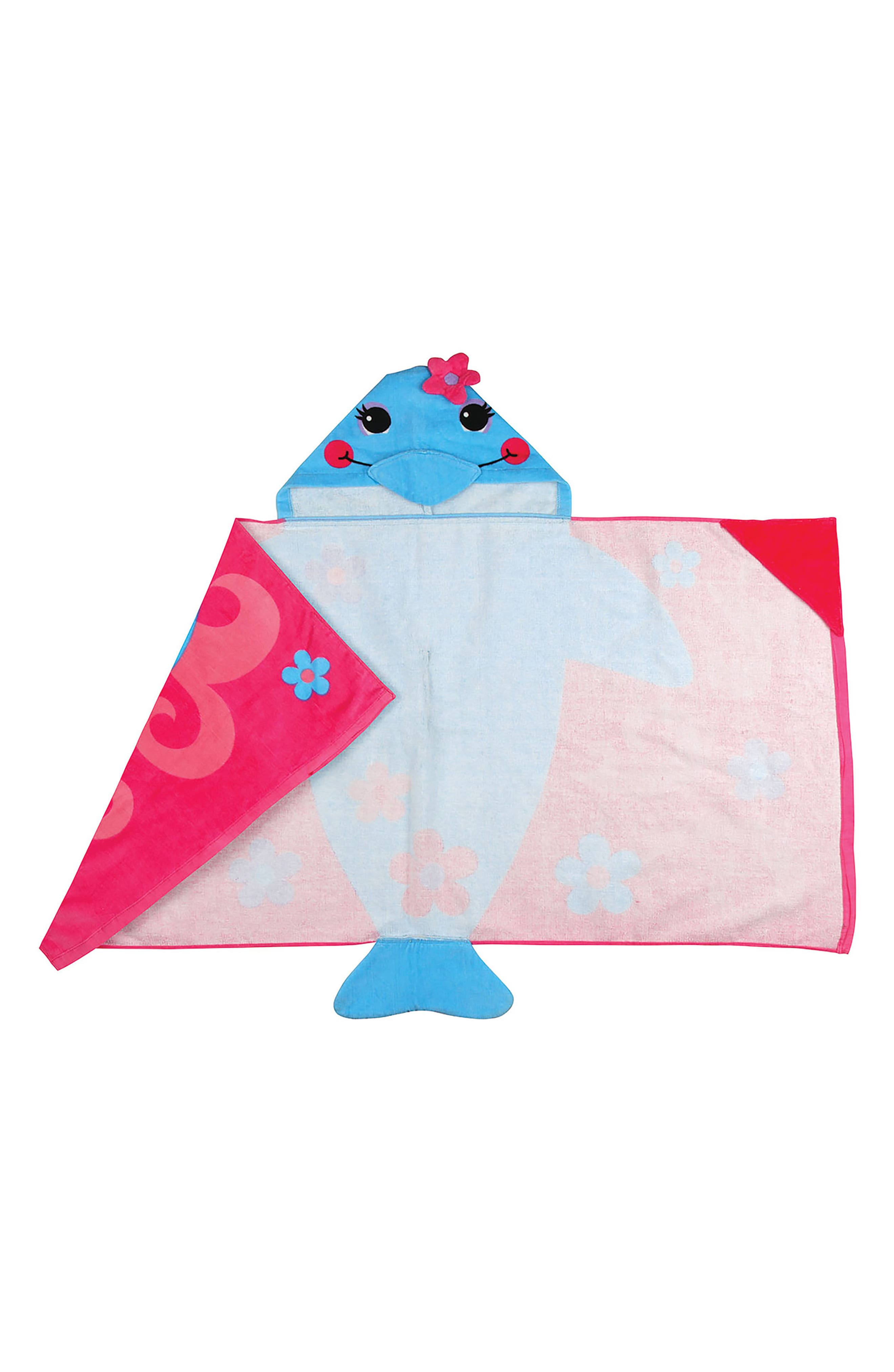 Beach Tote, Hooded Towel & Toys,                             Alternate thumbnail 5, color,                             Blue Dolphin