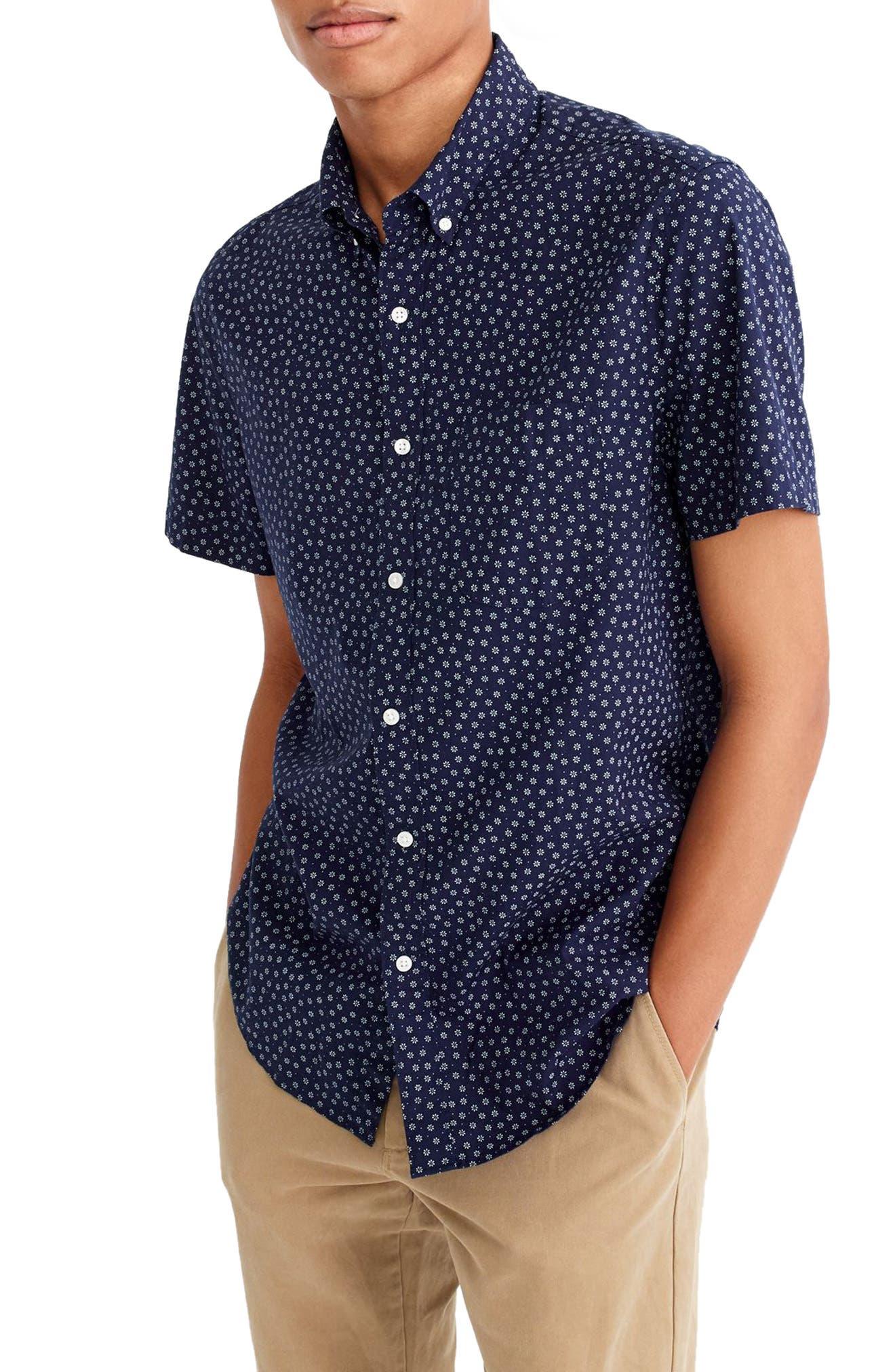 Main Image - J.Crew Slim Fit Stretch Secret Wash Short Sleeve Daisy Print Sport Shirt