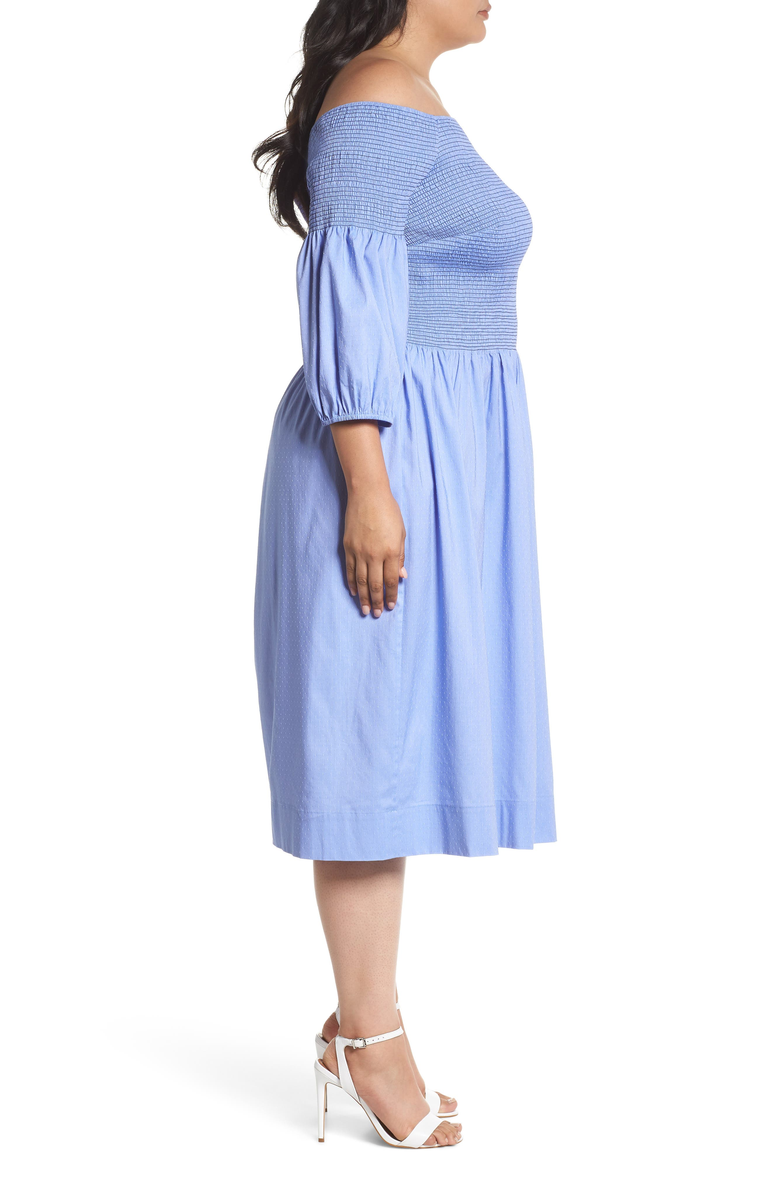 Off the Shoulder Smocked Bodice Midi Dress,                             Alternate thumbnail 3, color,                             Blue Ivory Swiss Dot
