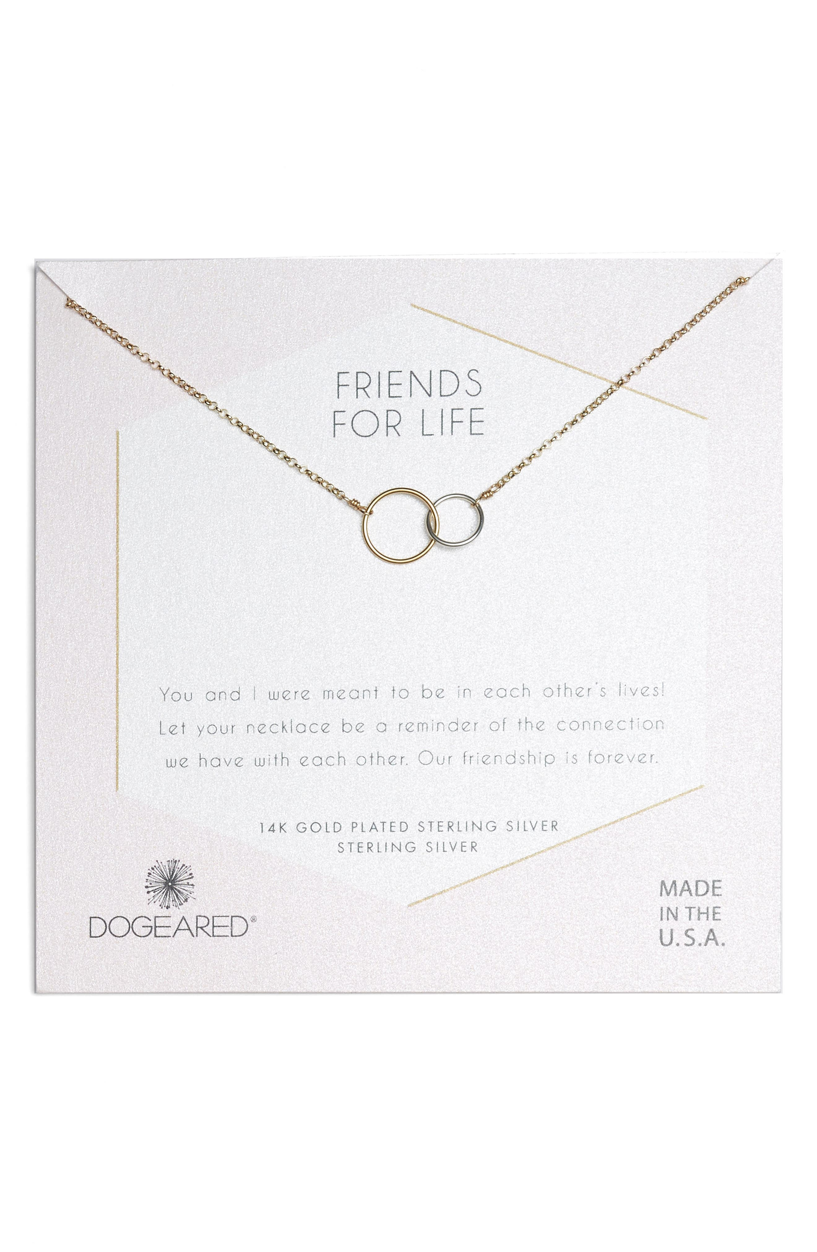 Friends for Life Necklace,                         Main,                         color, Gold