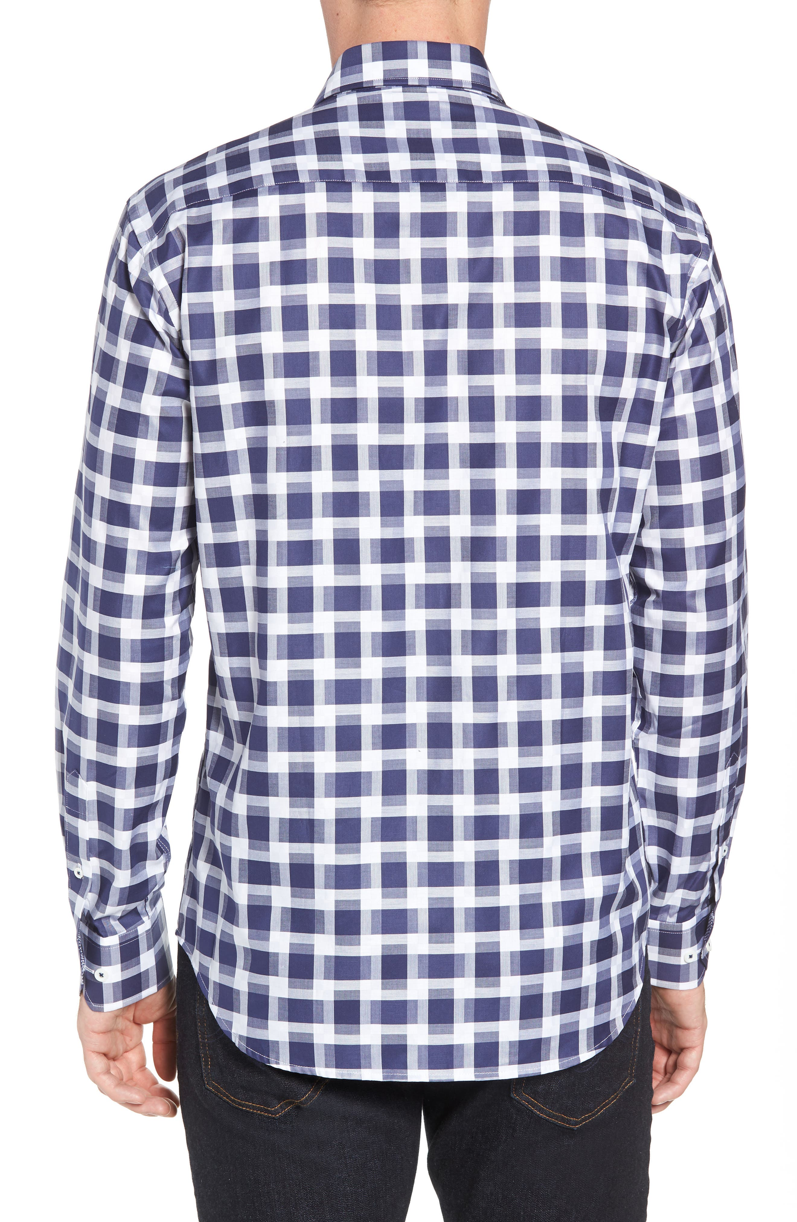 Shaped Fit Layered Grid Sport Shirt,                             Alternate thumbnail 3, color,                             Navy