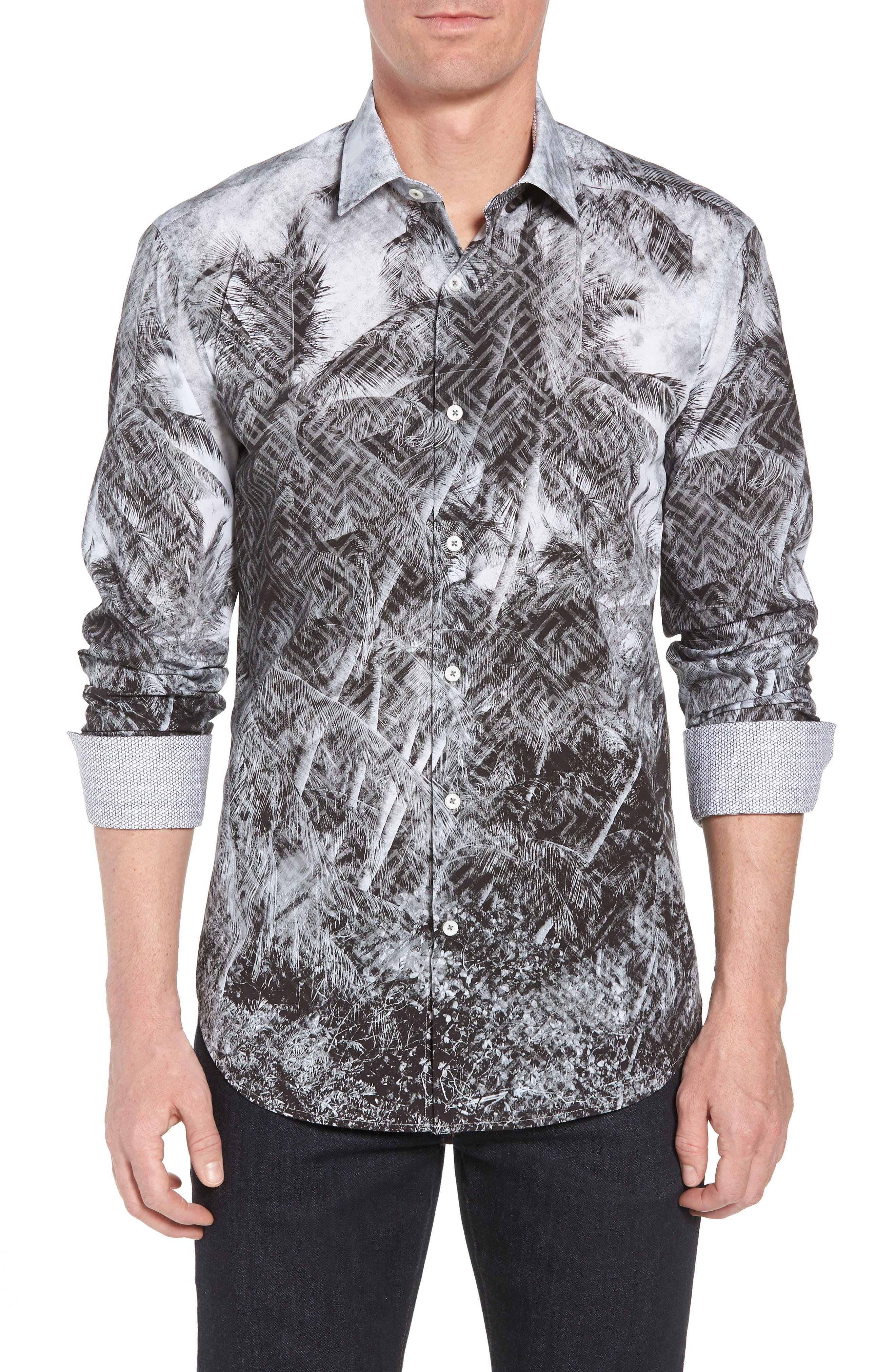 Shaped Fit Shady Frond Print Sport Shirt,                             Main thumbnail 1, color,                             Graphite