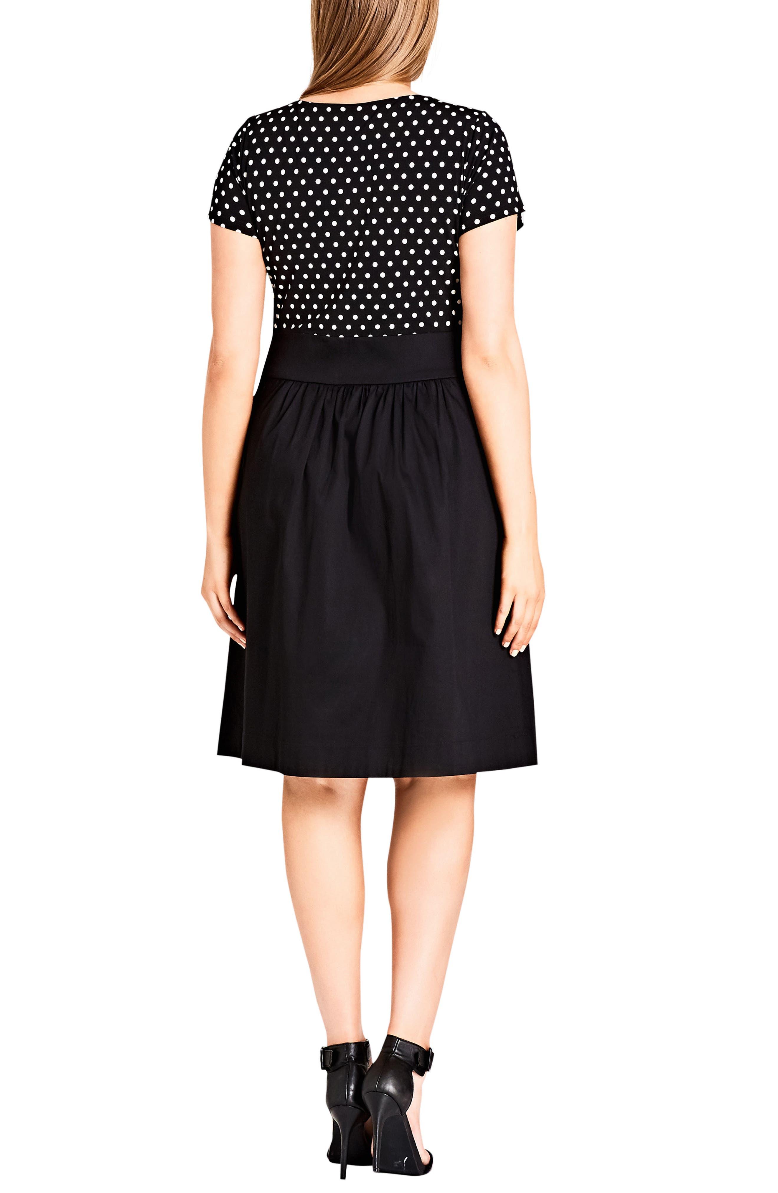 Nautical Spot Fit & Flare Dress,                             Alternate thumbnail 2, color,                             Black