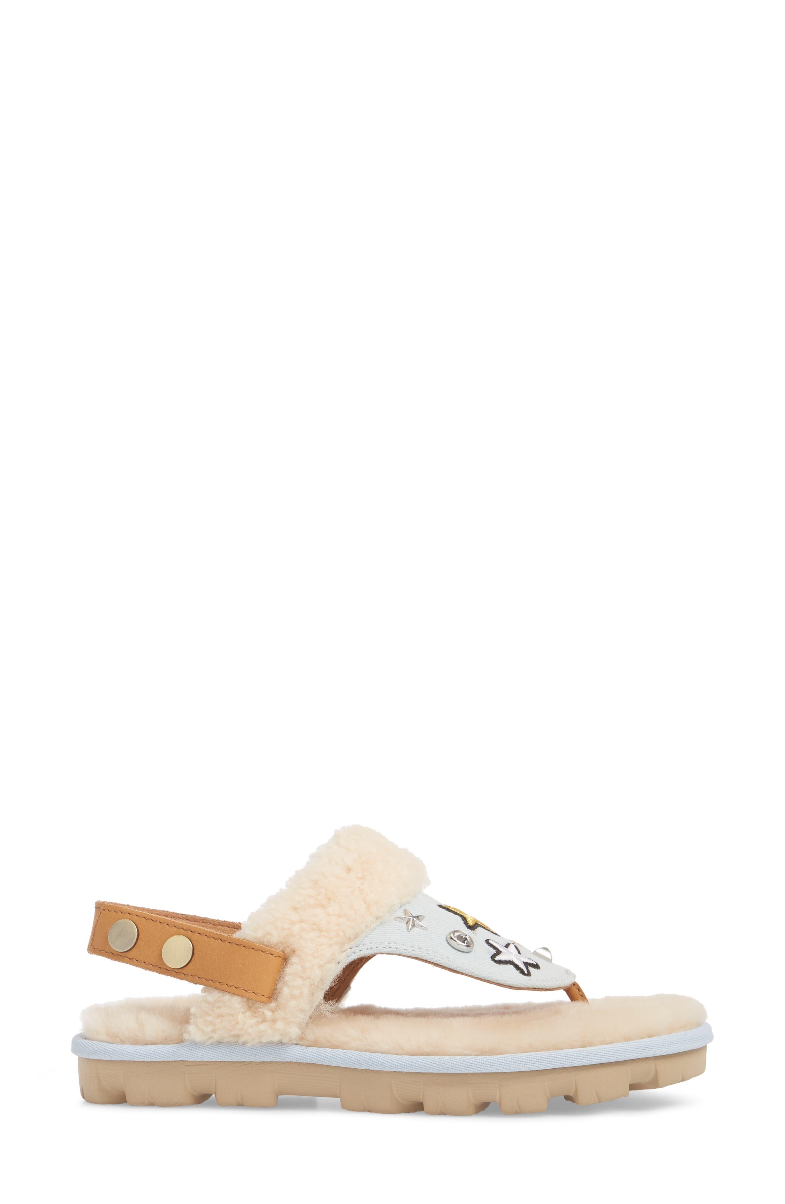 Patch It Slingback Sandal with Genuine Shearling Trim,                             Alternate thumbnail 3, color,                             Bleach Denim