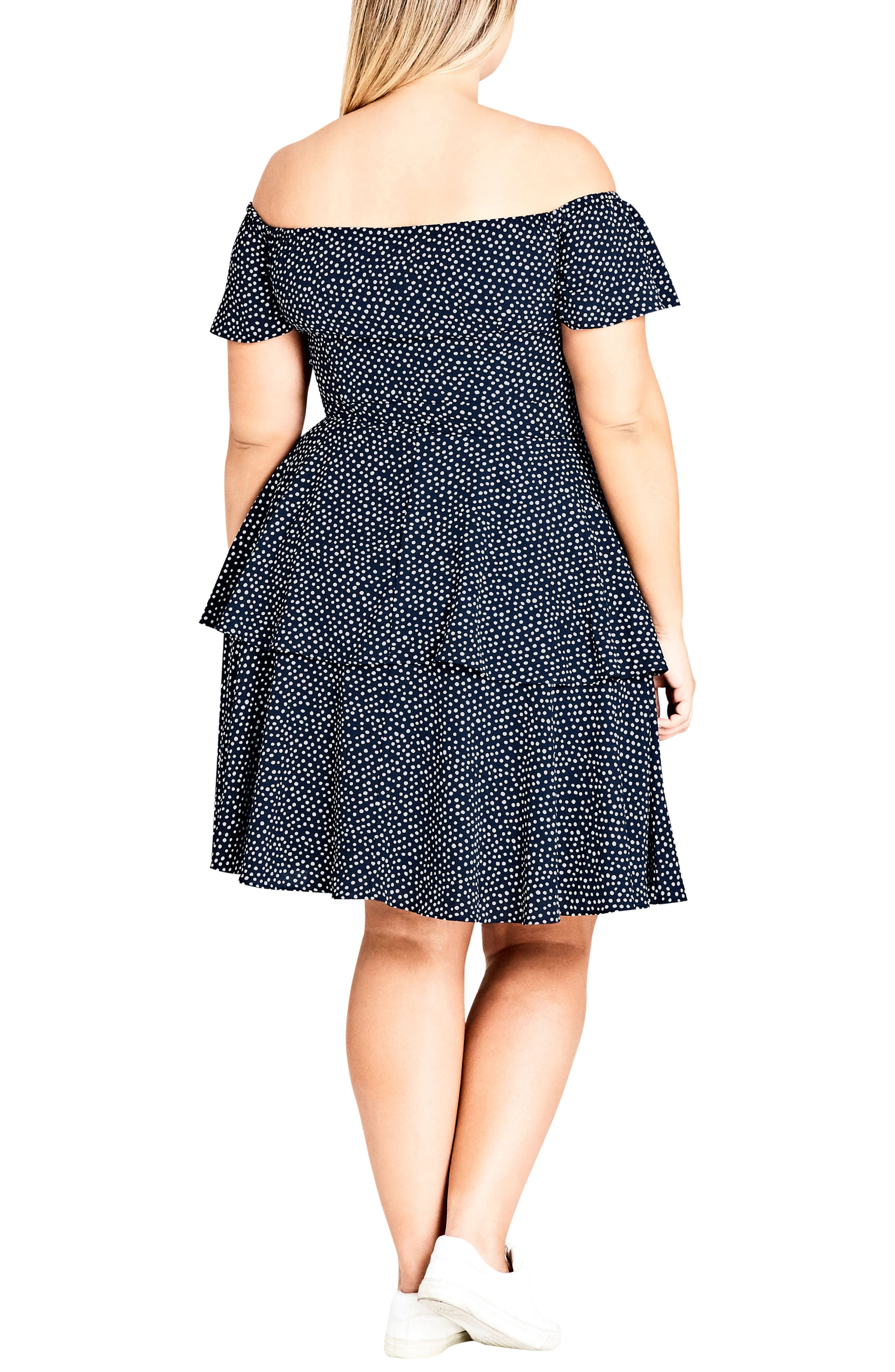 Spot Off the Shoulder Dress,                             Alternate thumbnail 4, color,                             Navy Spot