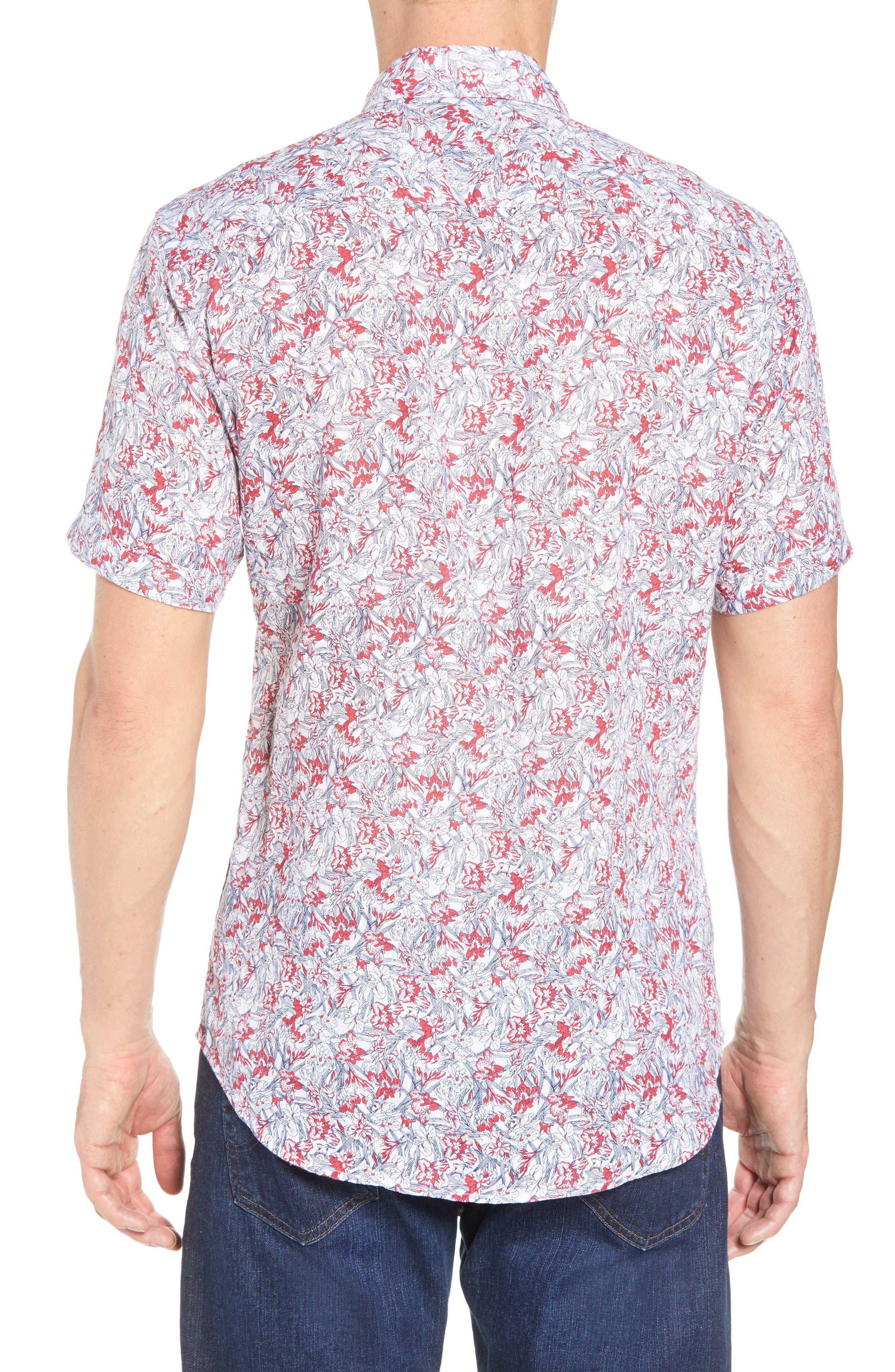 Shaped Fit Print Linen Sport Shirt,                             Alternate thumbnail 3, color,                             Pimento