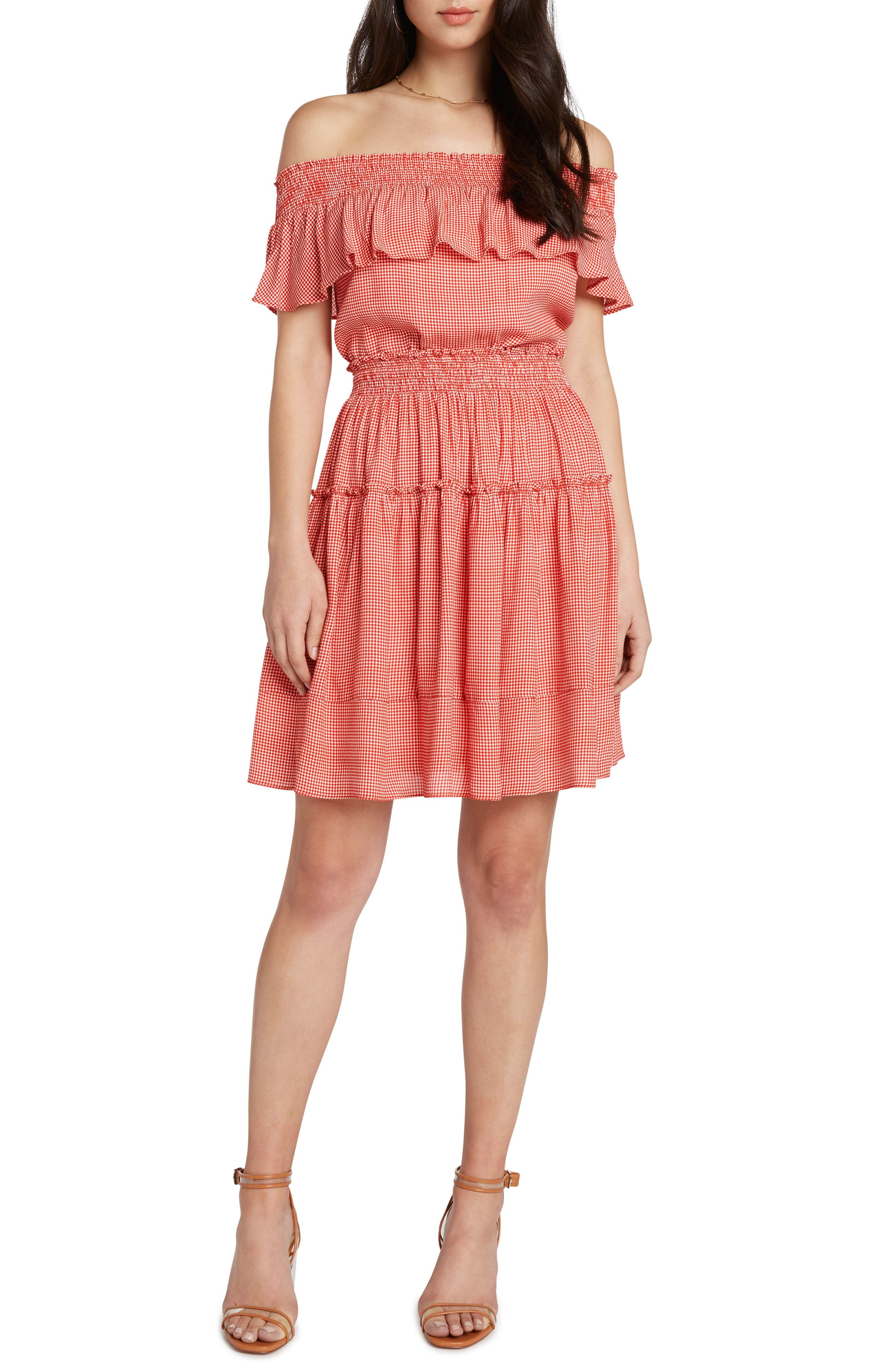 Gingham Smocked Off the Shoulder Dress,                             Main thumbnail 1, color,                             Poppy