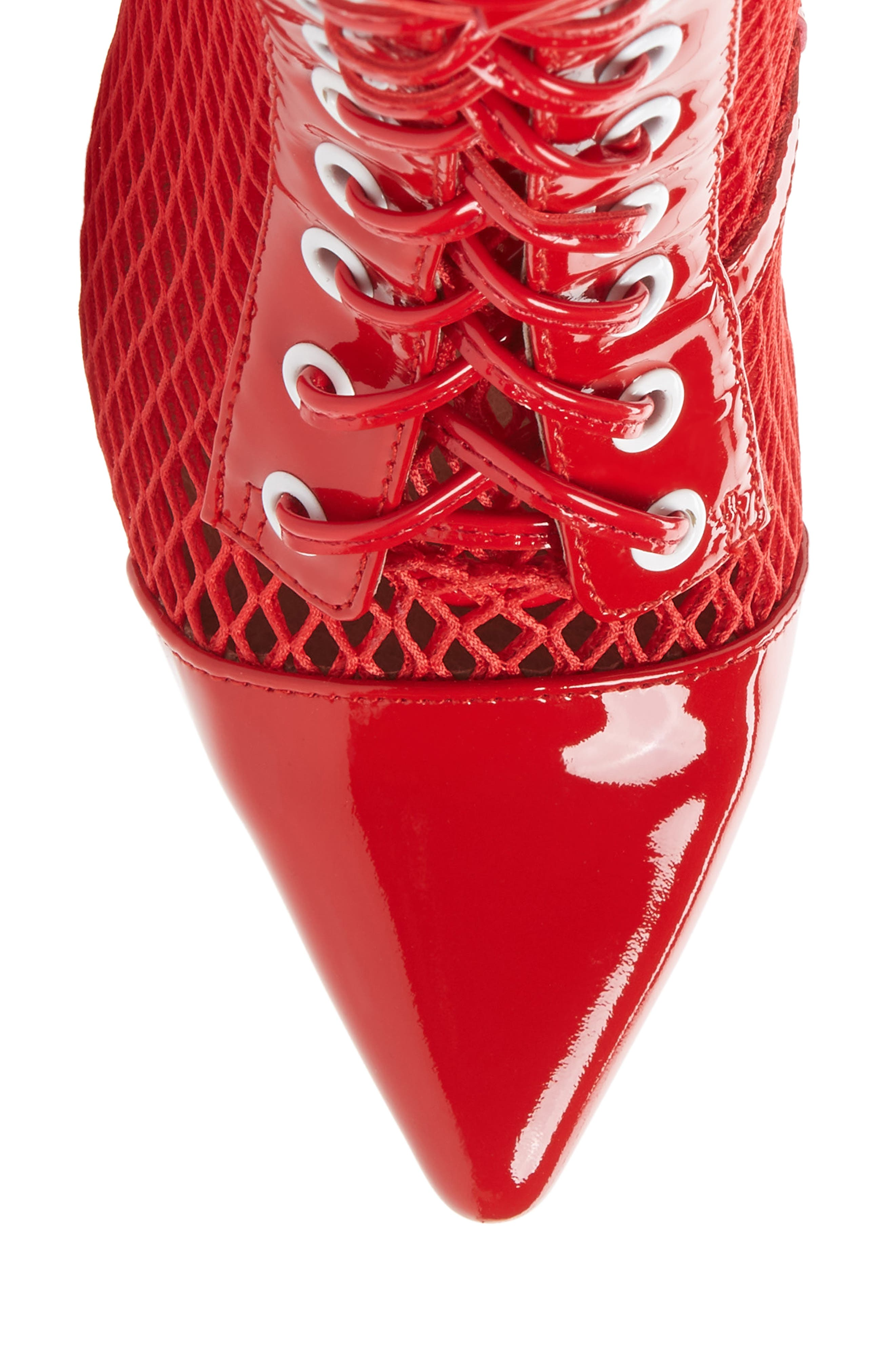 Cardi Mesh Bootie,                             Alternate thumbnail 5, color,                             Red/ White/ Clear