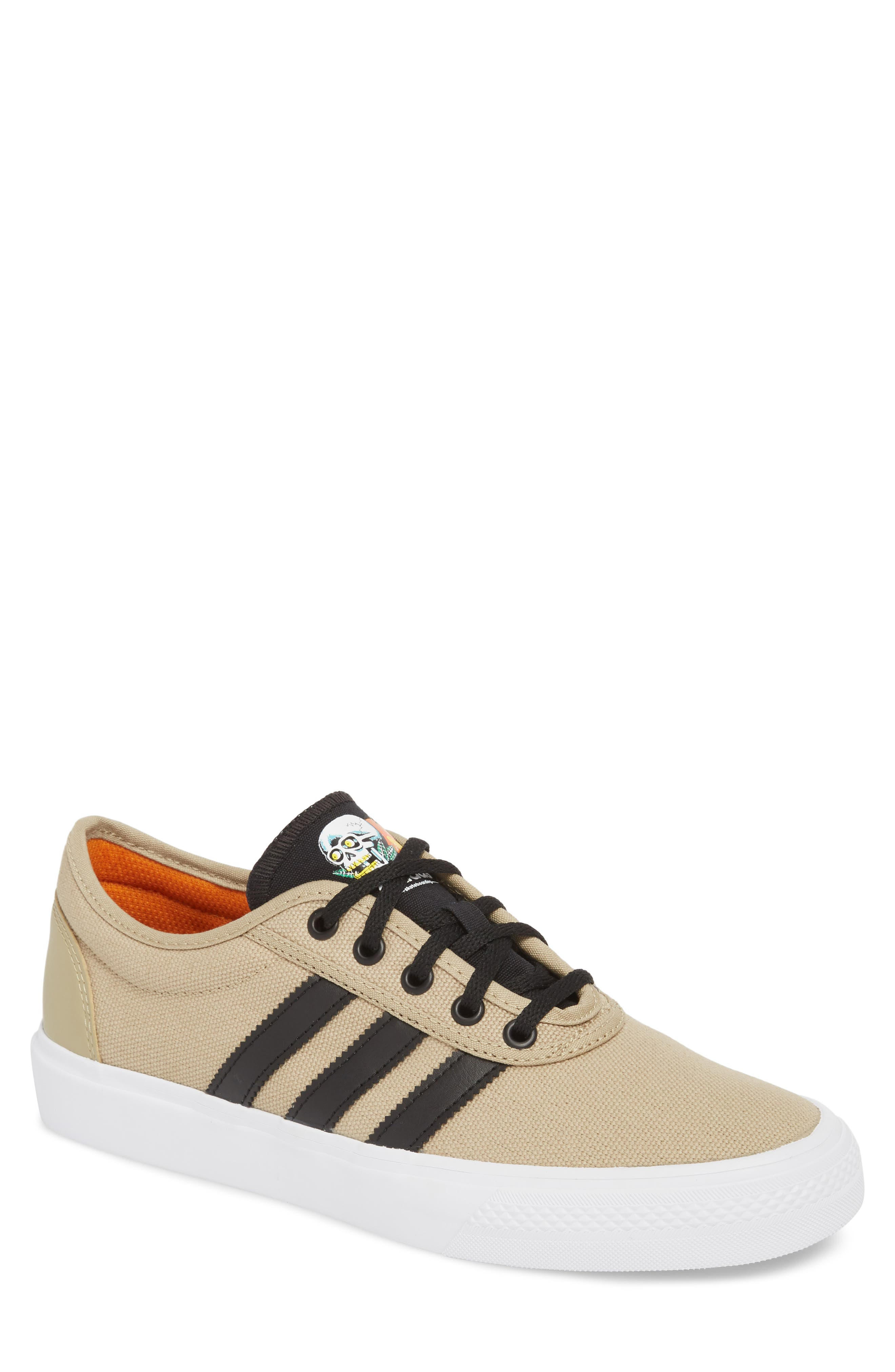 Adiease Premiere Skateboarding Sneaker,                         Main,                         color, Gold/ Core Black/ White