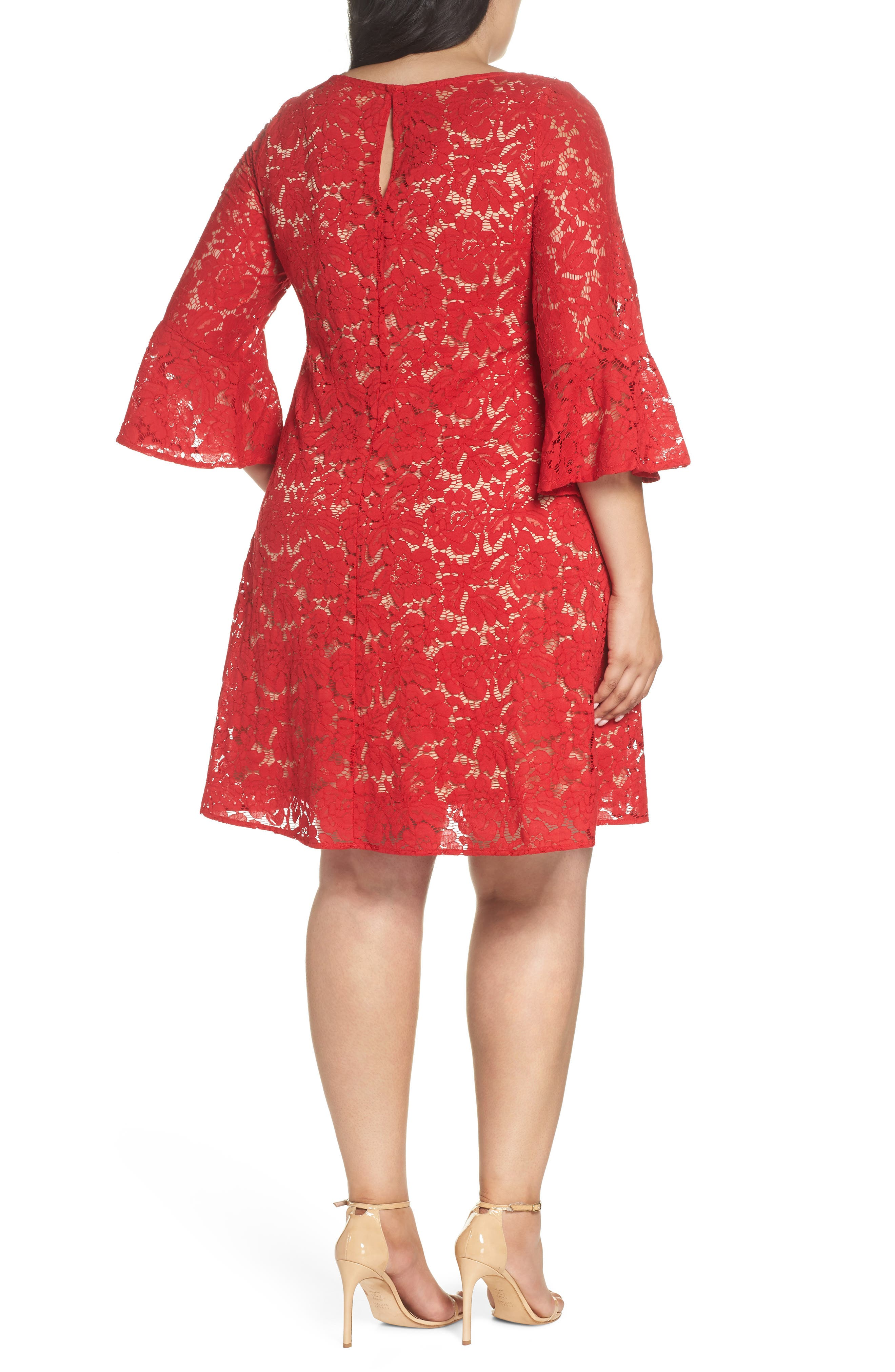 Bell Sleeve Lace Trapeze Dress,                             Alternate thumbnail 2, color,                             Red/ Cafe Mocha
