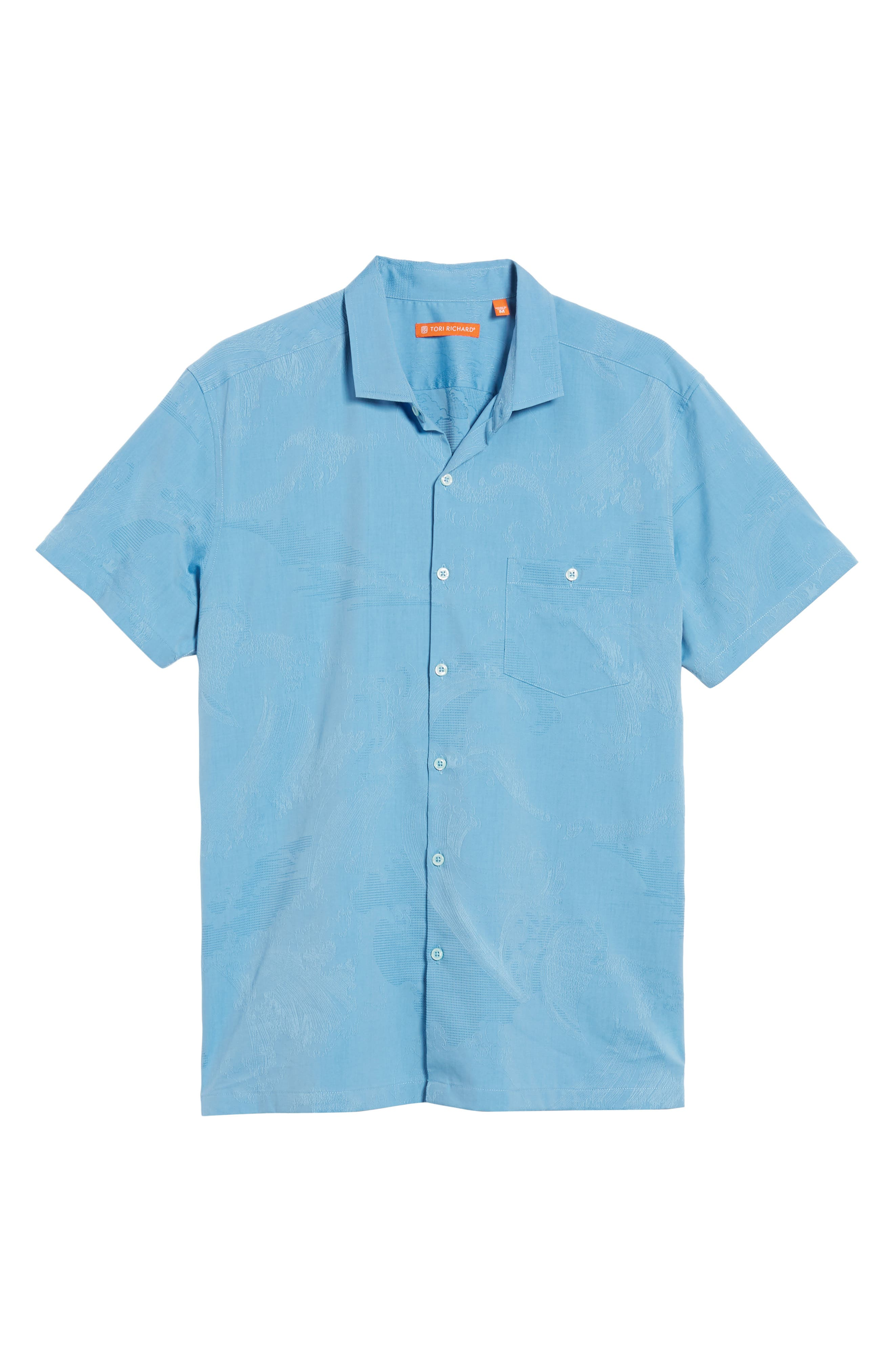 Seas the Day Trim Fit Cotton & Silk Camp Shirt,                             Alternate thumbnail 6, color,                             Wave