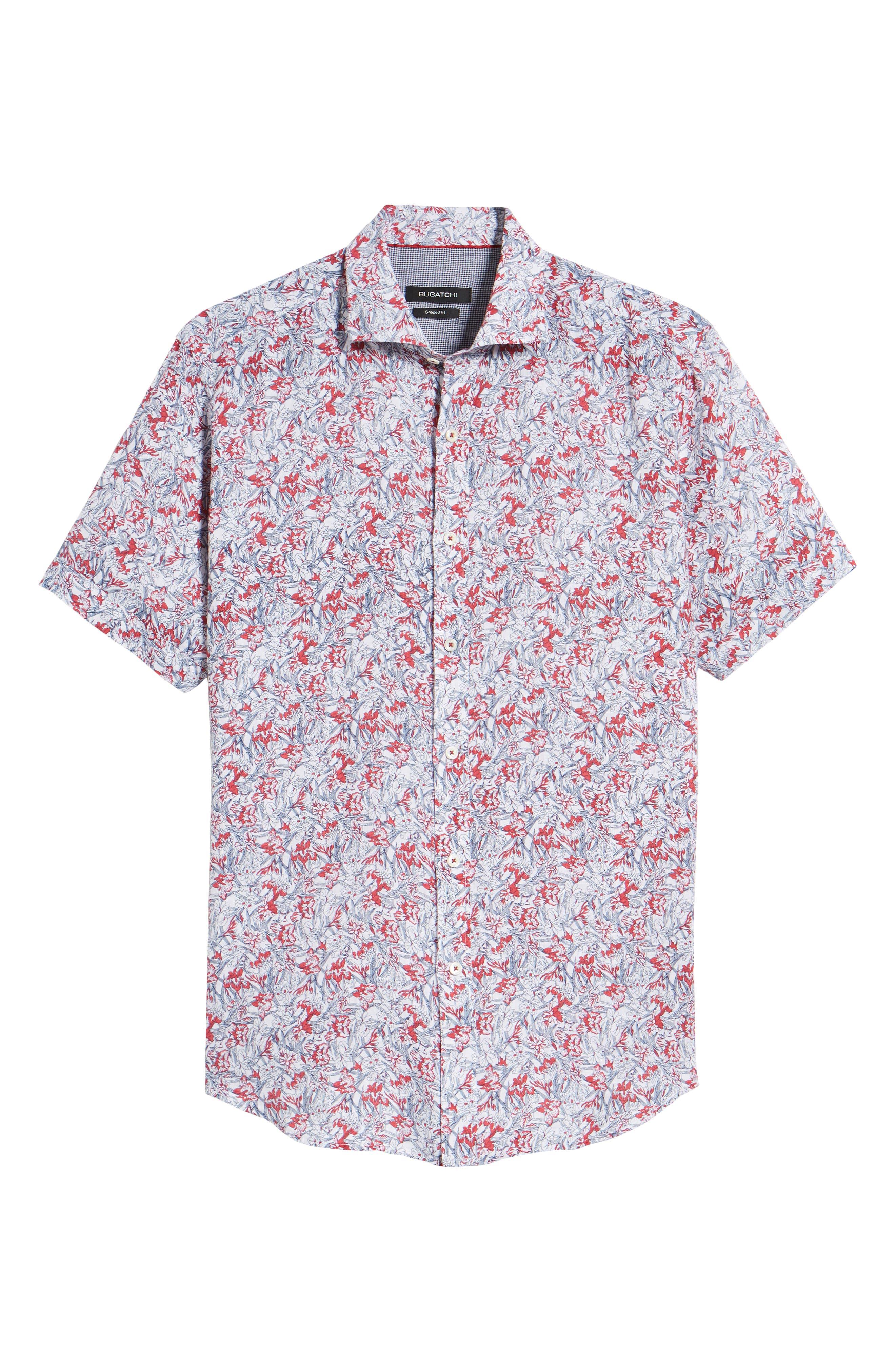 Shaped Fit Print Linen Sport Shirt,                             Alternate thumbnail 6, color,                             Pimento