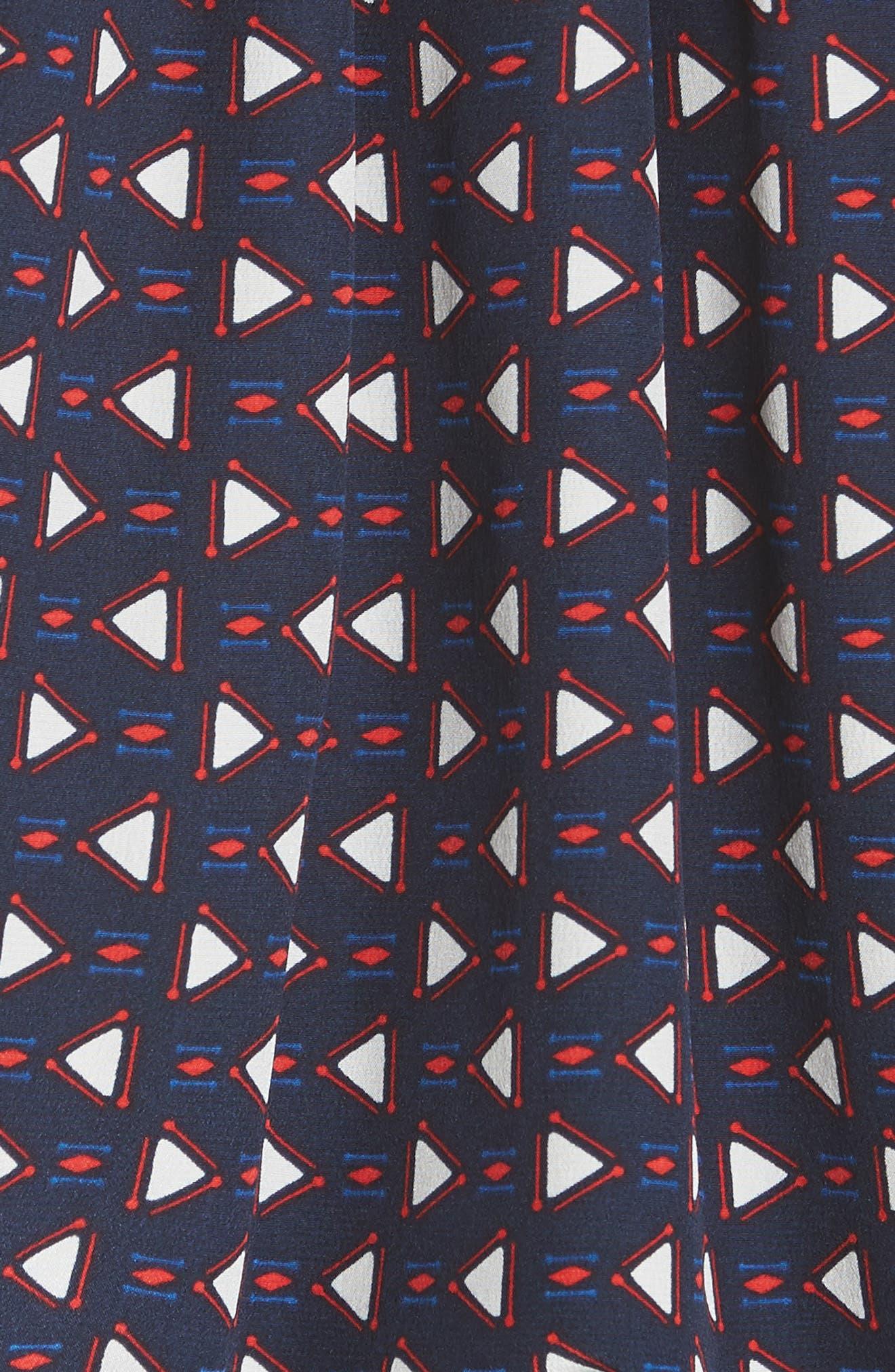 Yareli Print Silk Blouse,                             Alternate thumbnail 5, color,                             Dark Navy