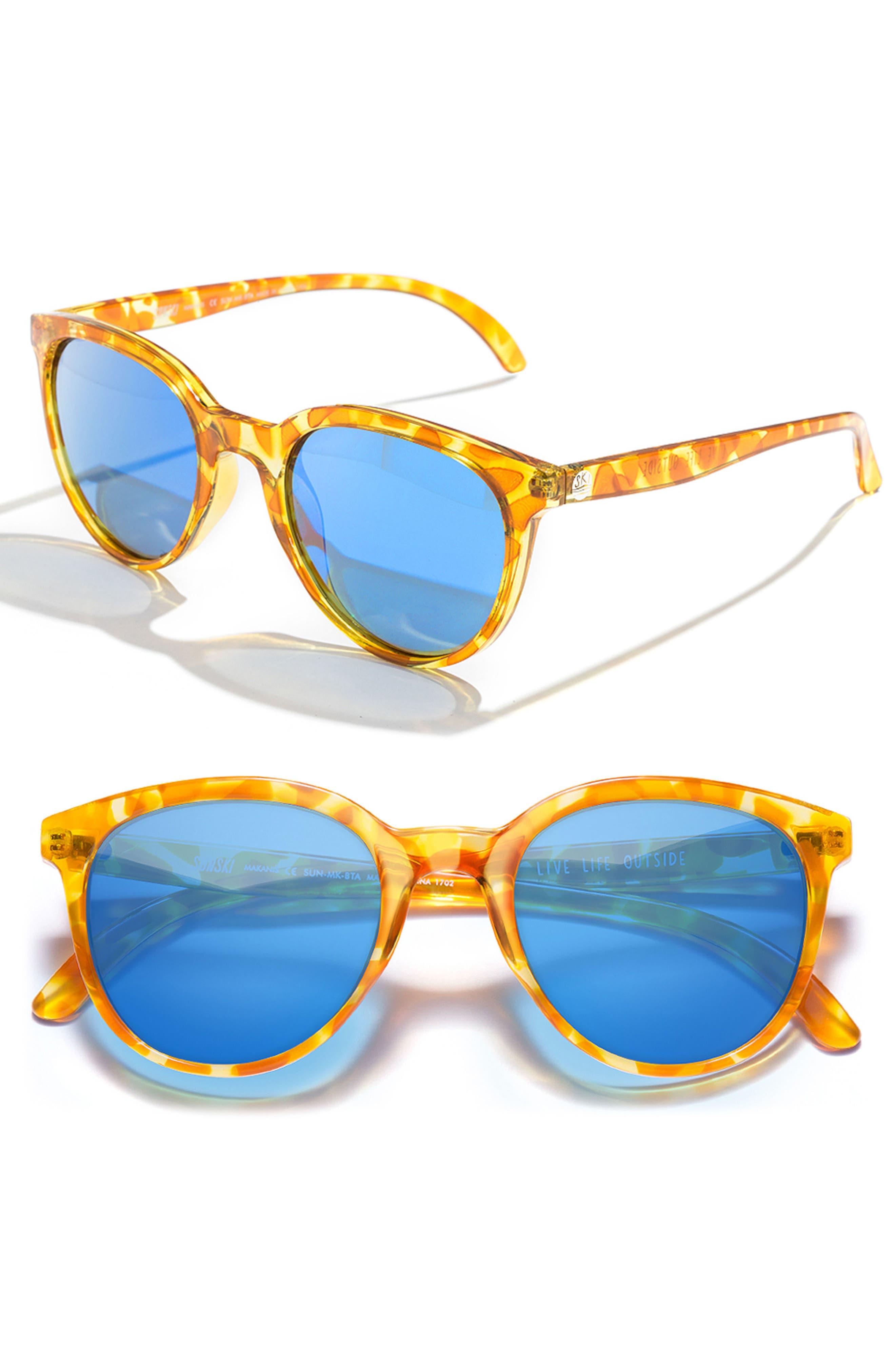 Makani 51mm Mirrored Polarized Sunglasses,                             Main thumbnail 1, color,                             Blond Tortoise/ Aqua