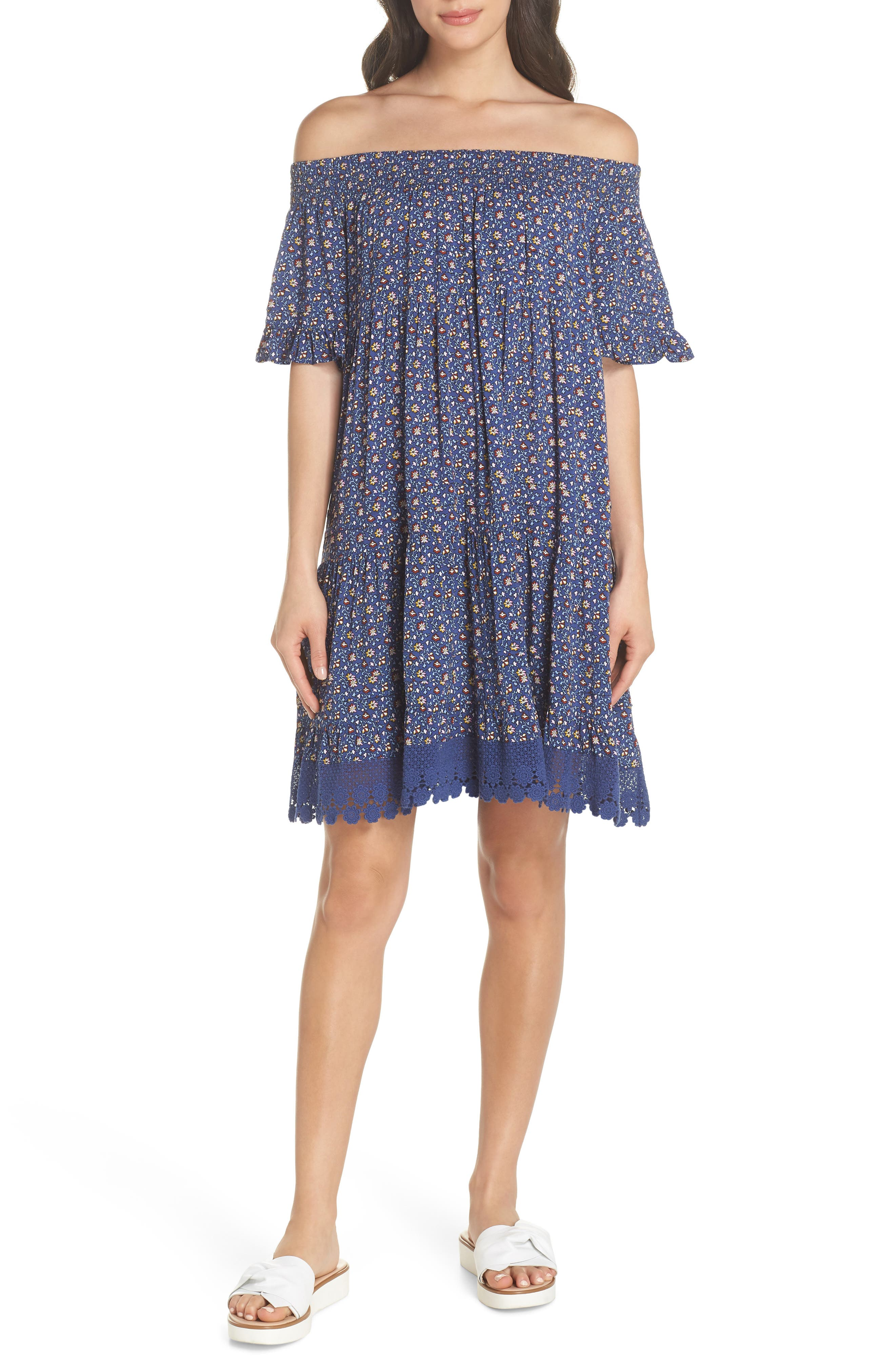 Wild Pansy Off the Shoulder Cover-Up Dress,                             Main thumbnail 1, color,                             Navy Wild Pansy