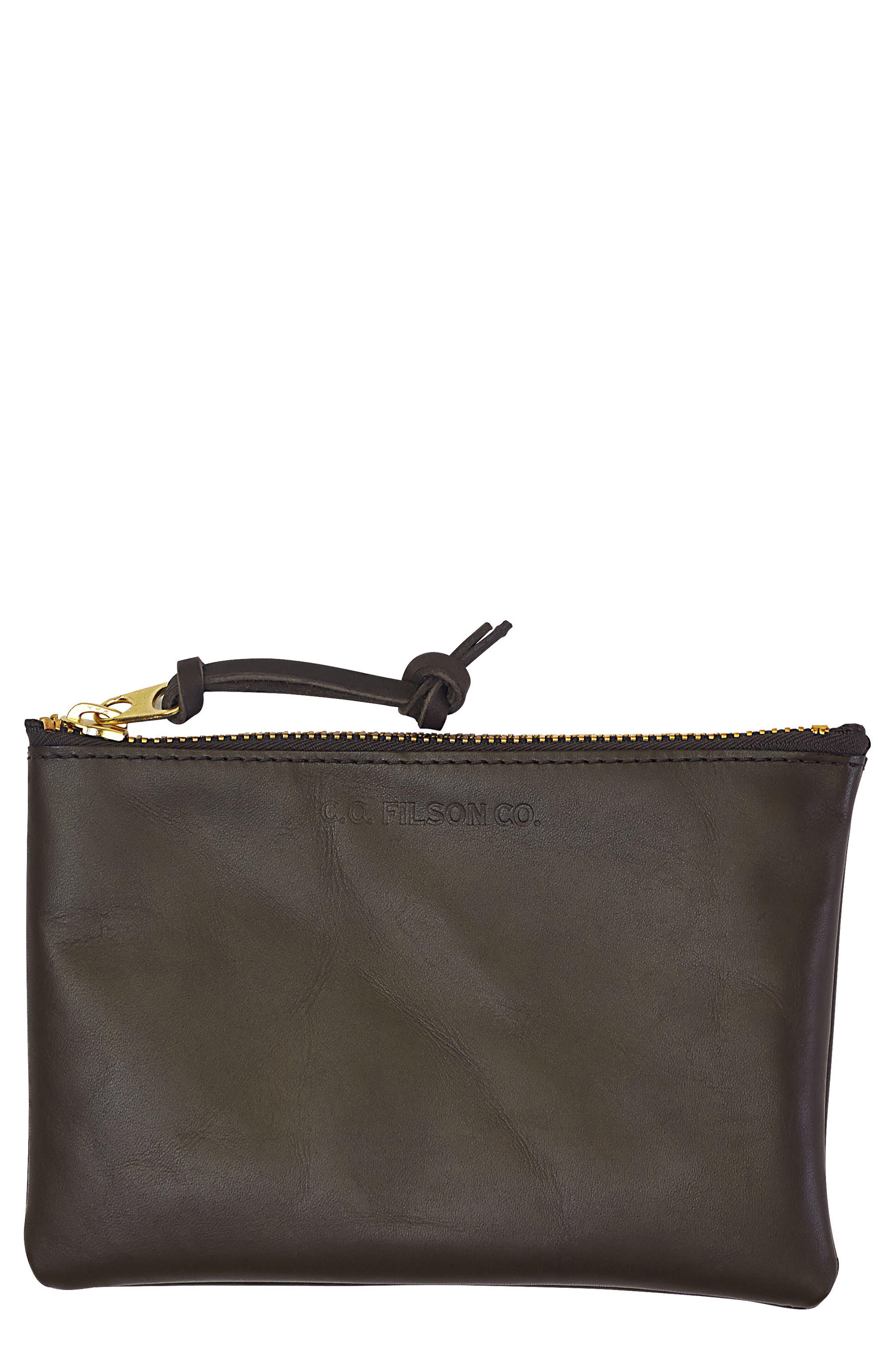 Medium Leather Zipper Pouch,                         Main,                         color, Moss