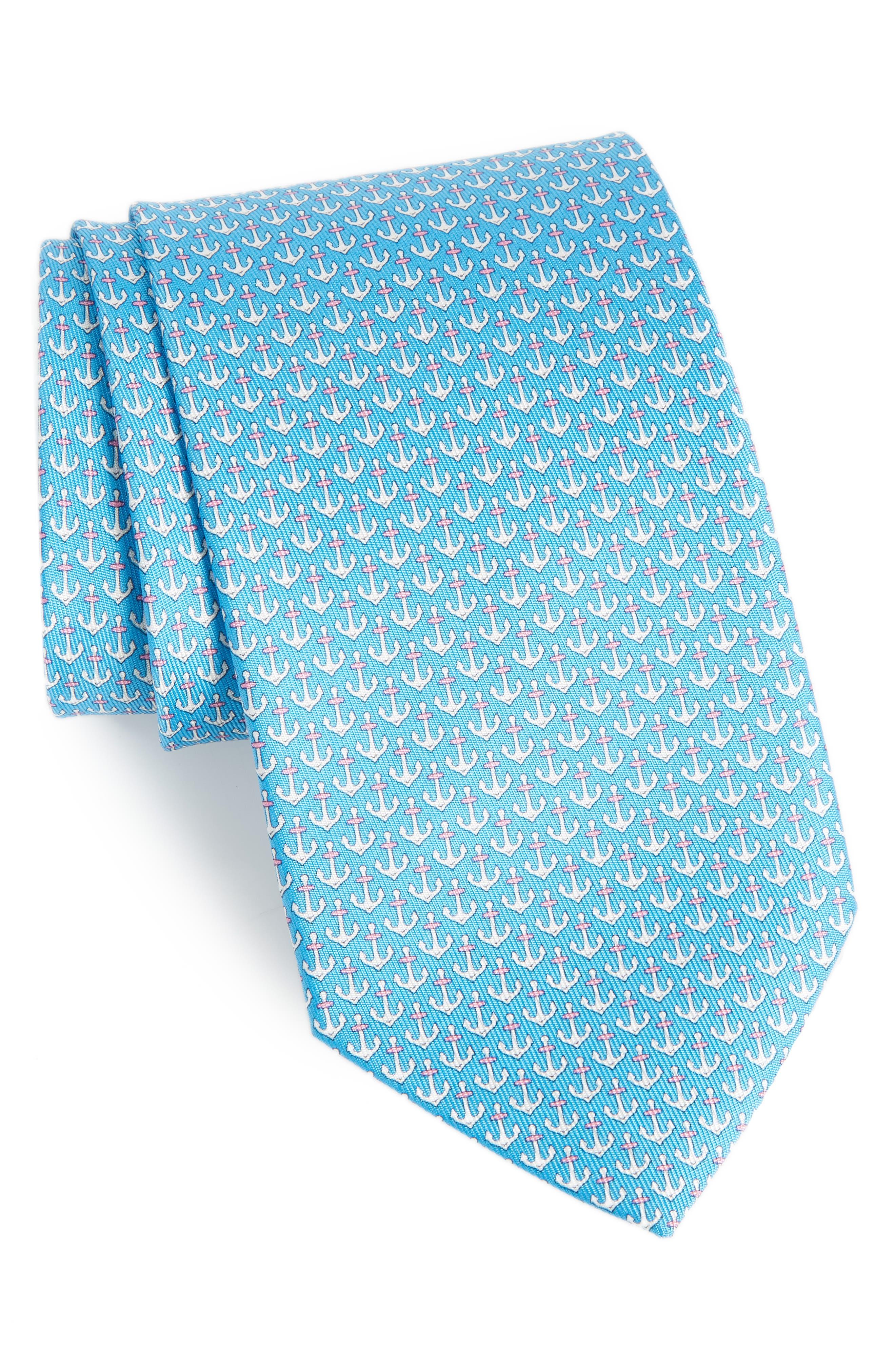 Encora Silk Tie,                         Main,                         color, Light Blue