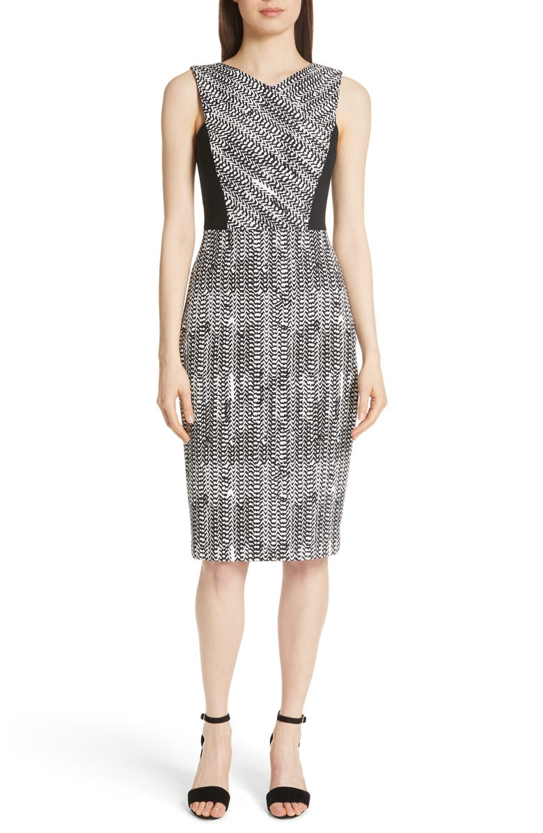 Herringbone Jacquard Sheath Dress