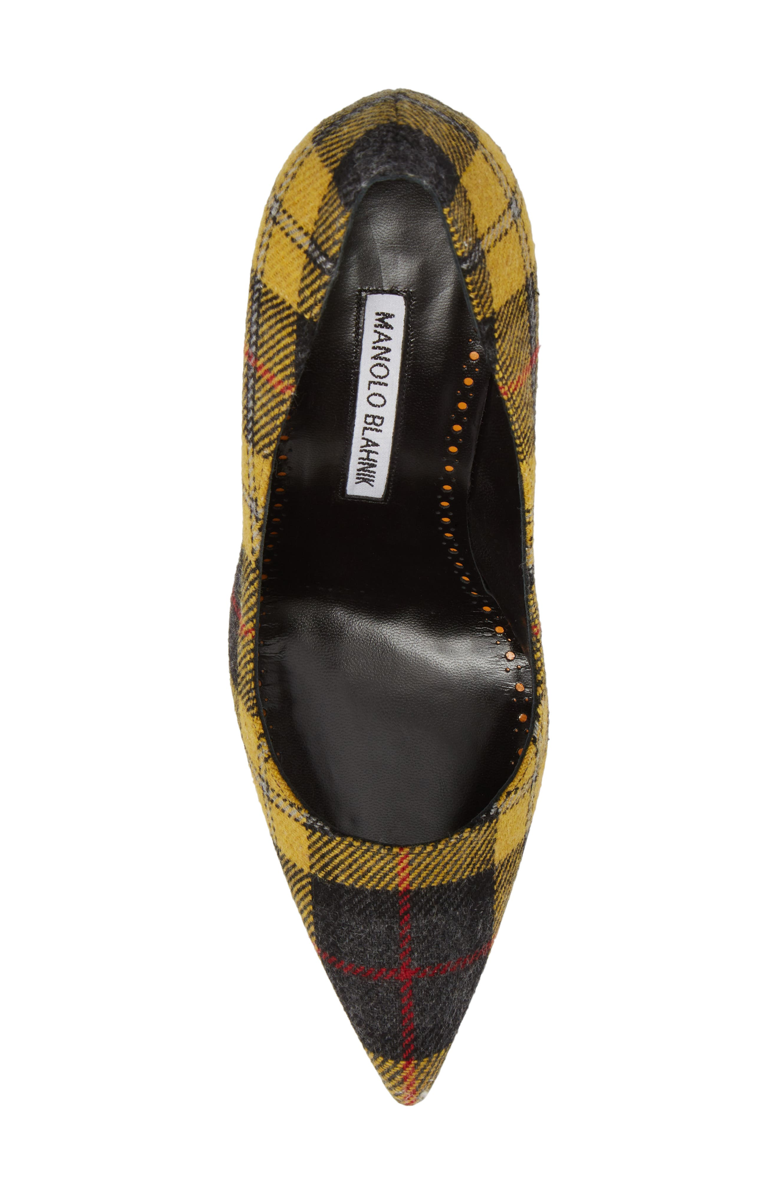 Pointy Toe Pump,                             Alternate thumbnail 5, color,                             Yellow Plaid