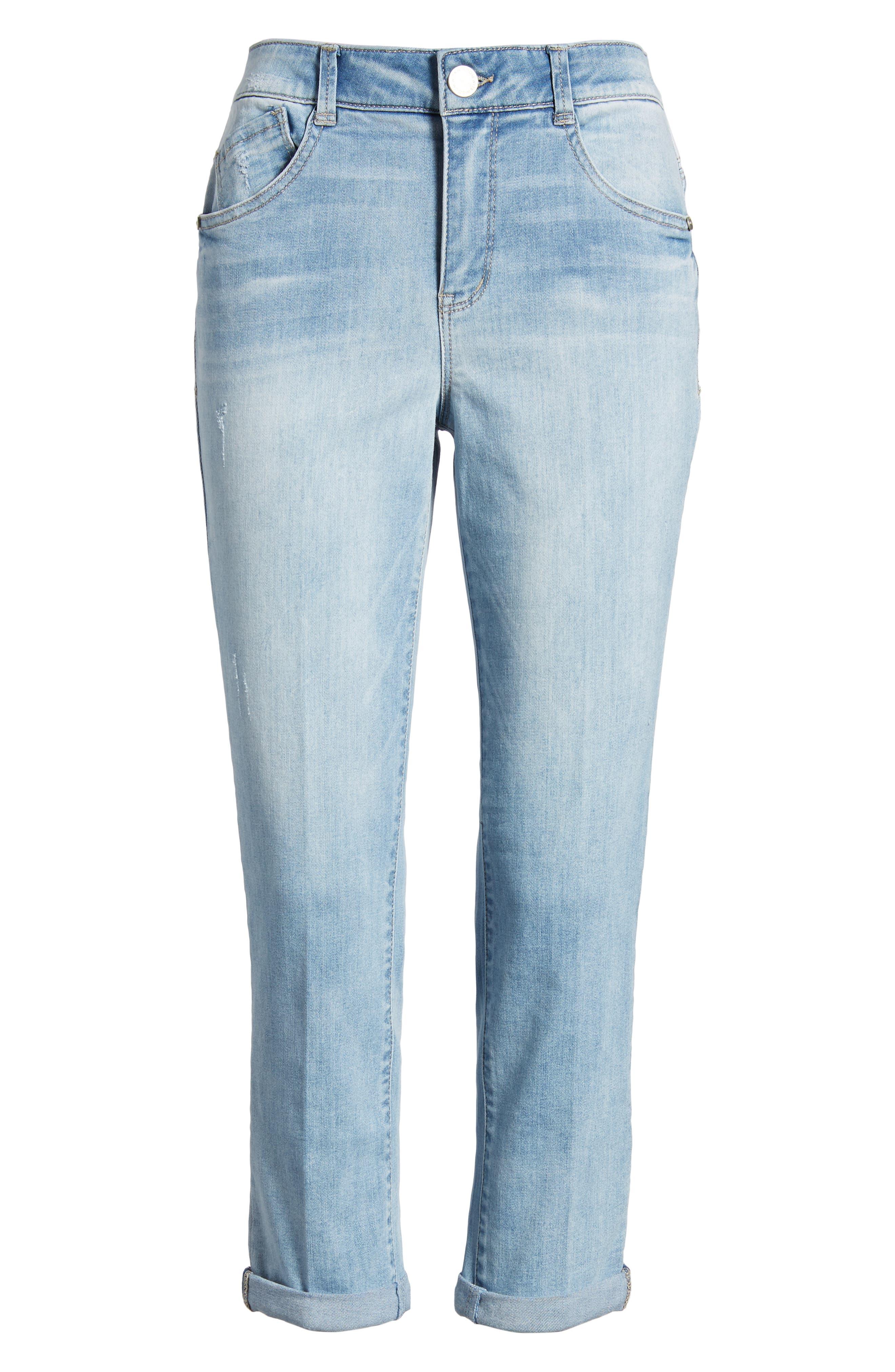 Ab-solution High Rise Crop Jeans,                             Alternate thumbnail 7, color,                             Light Blue