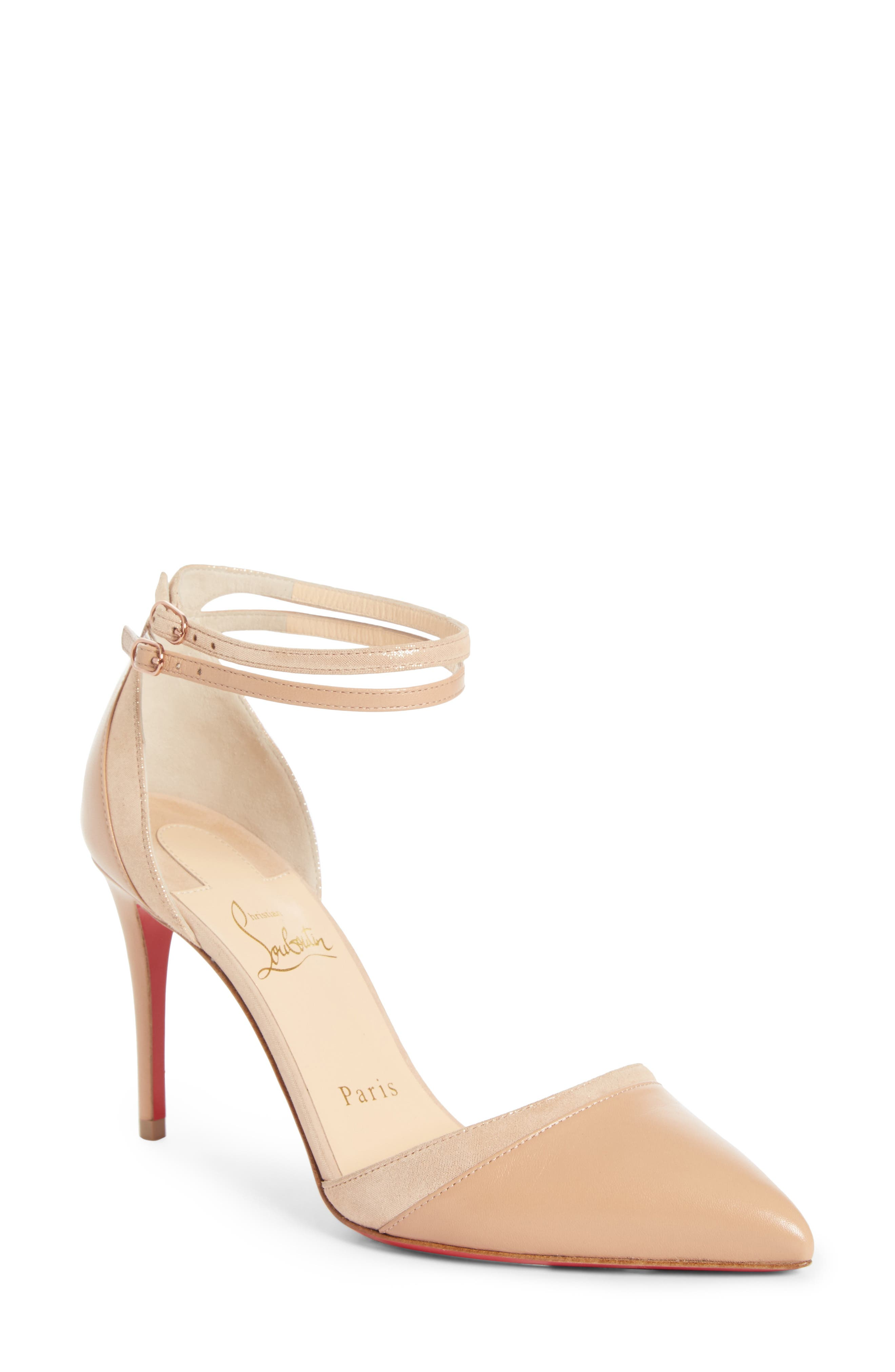 Uptown Ankle Strap Pump,                             Main thumbnail 1, color,                             Nude