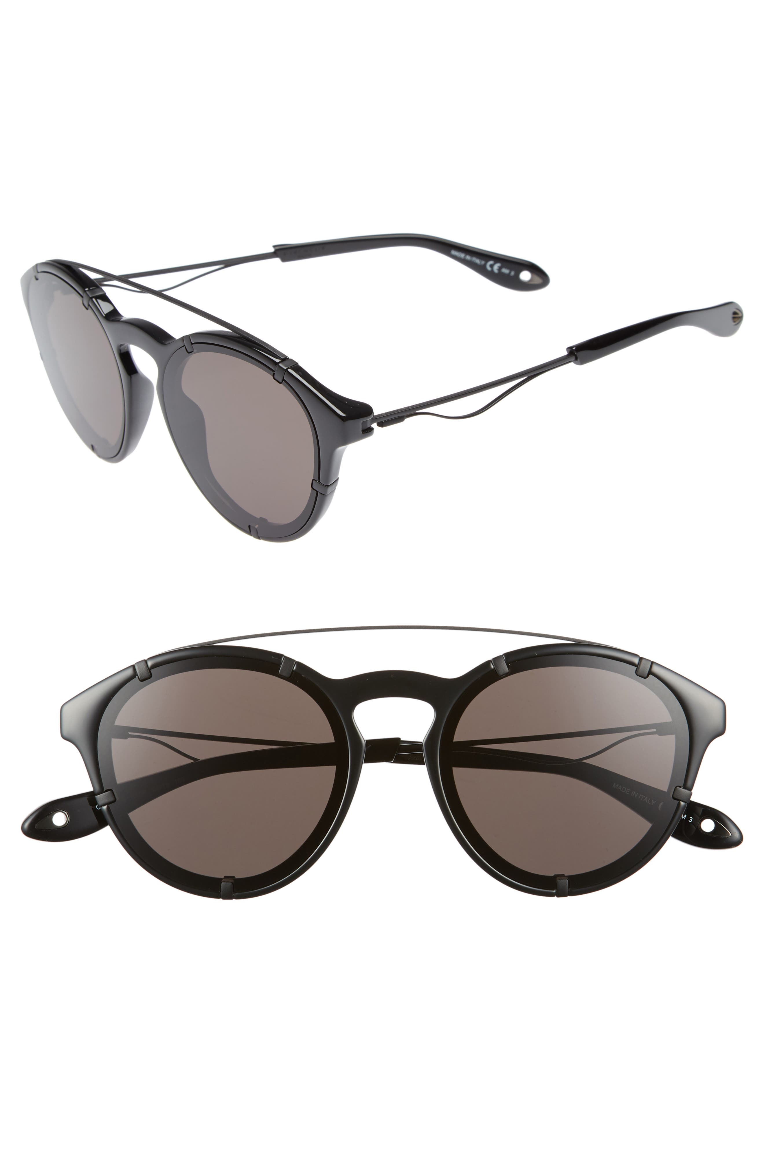 54mm Round Polarized Sunglasses,                             Main thumbnail 1, color,                             Black