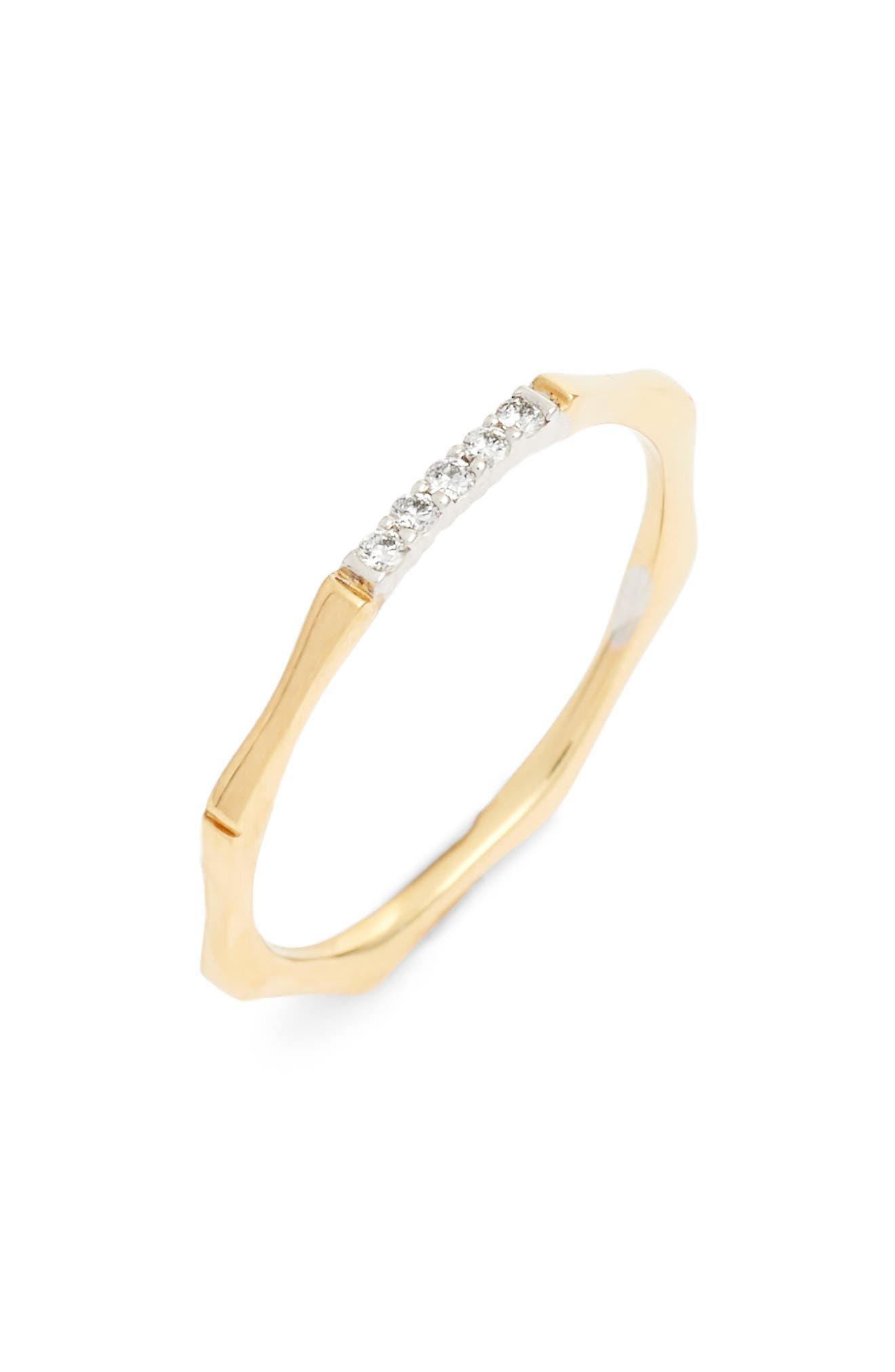 Bon Levy Diamond Bar Octagon Ring,                             Main thumbnail 1, color,                             Yellow Gold/ White Gold