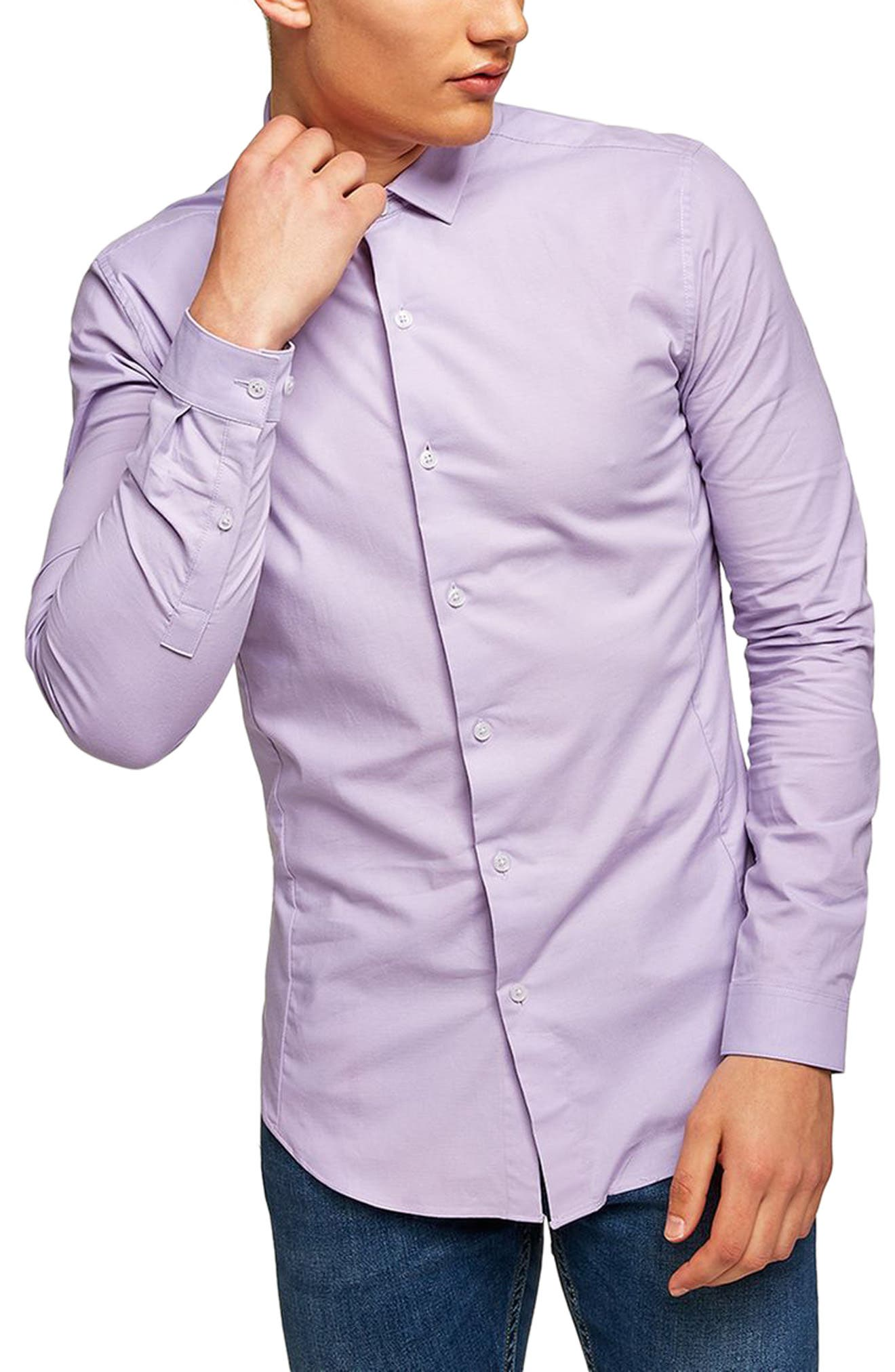 Muscle Fit Textured Shirt,                         Main,                         color, Purple