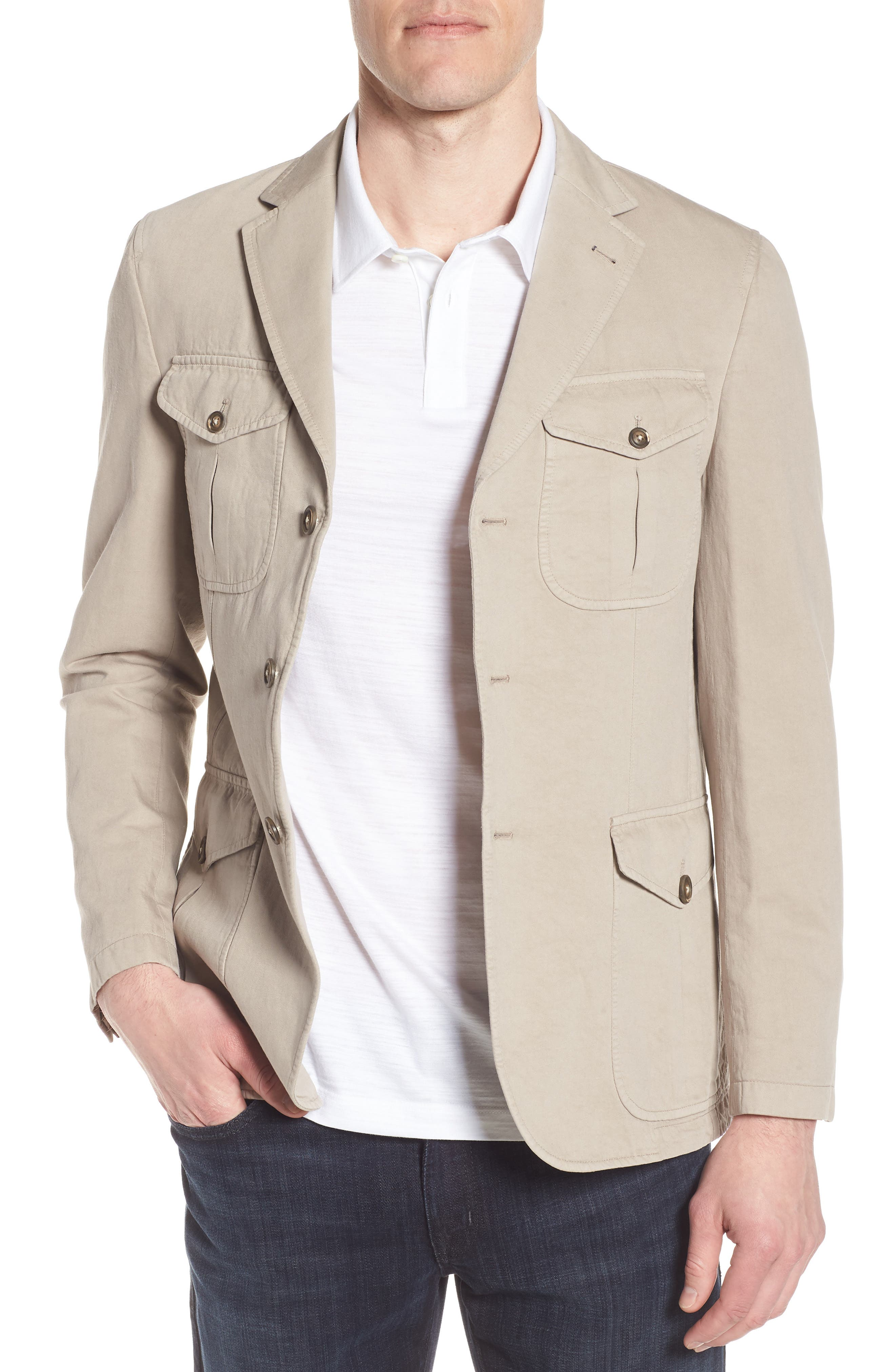 Cotton & Linen Safari Blazer,                         Main,                         color, Sand