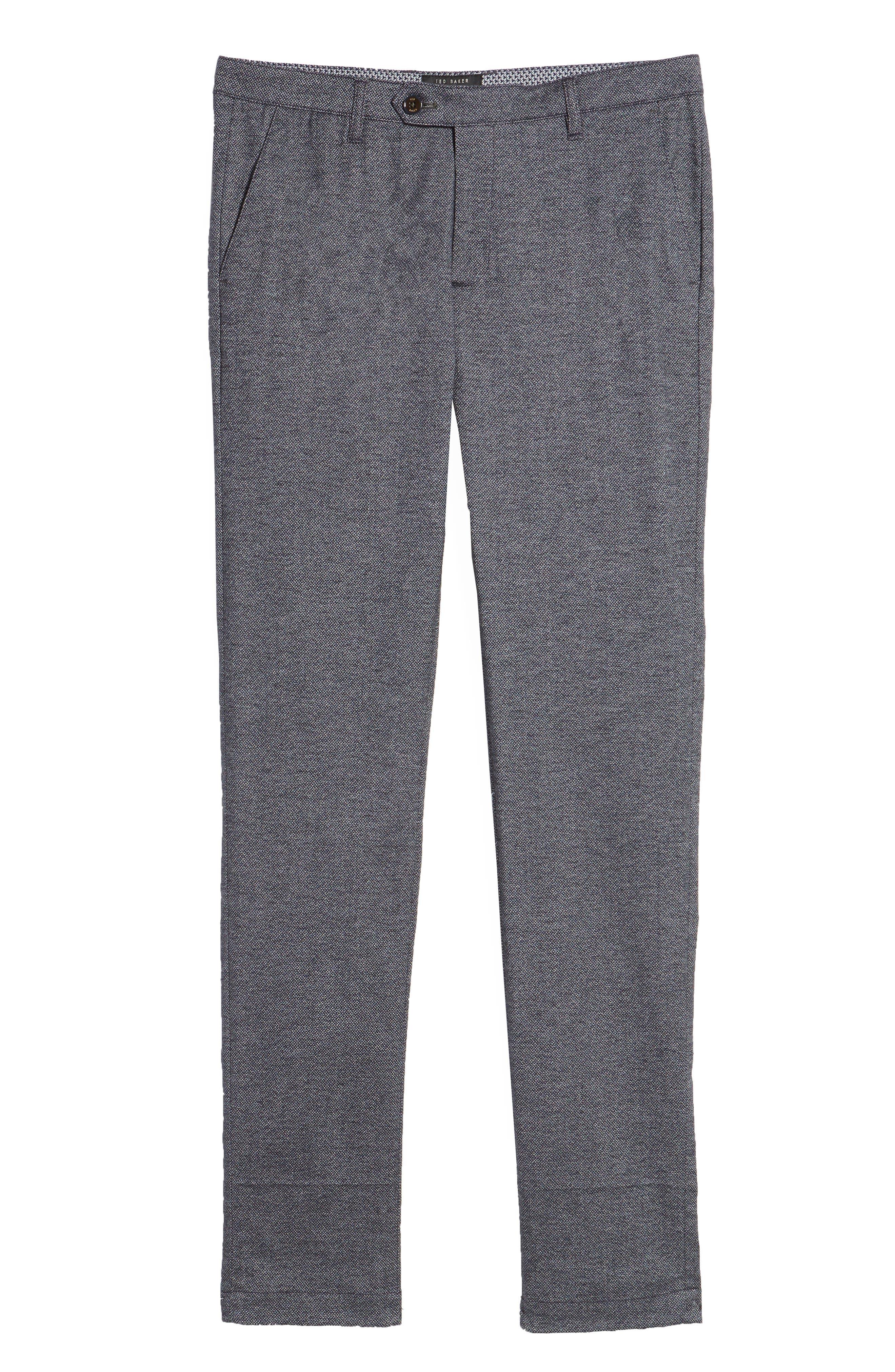 Pintztt Flat Front Stretch Solid Cotton Pants,                             Alternate thumbnail 6, color,                             Navy