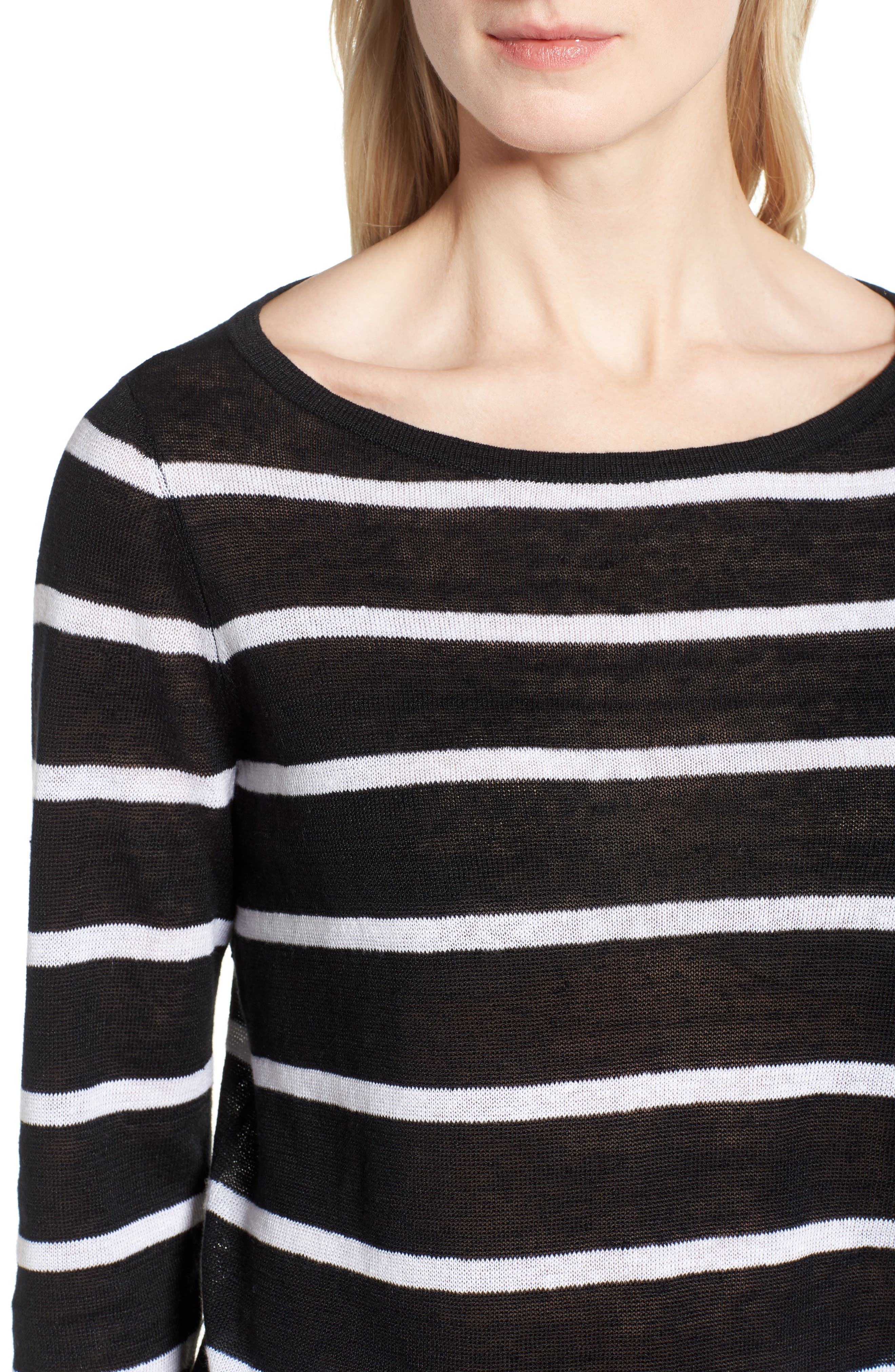 Stripe Organic Linen Sweater,                             Alternate thumbnail 4, color,                             Black/ White