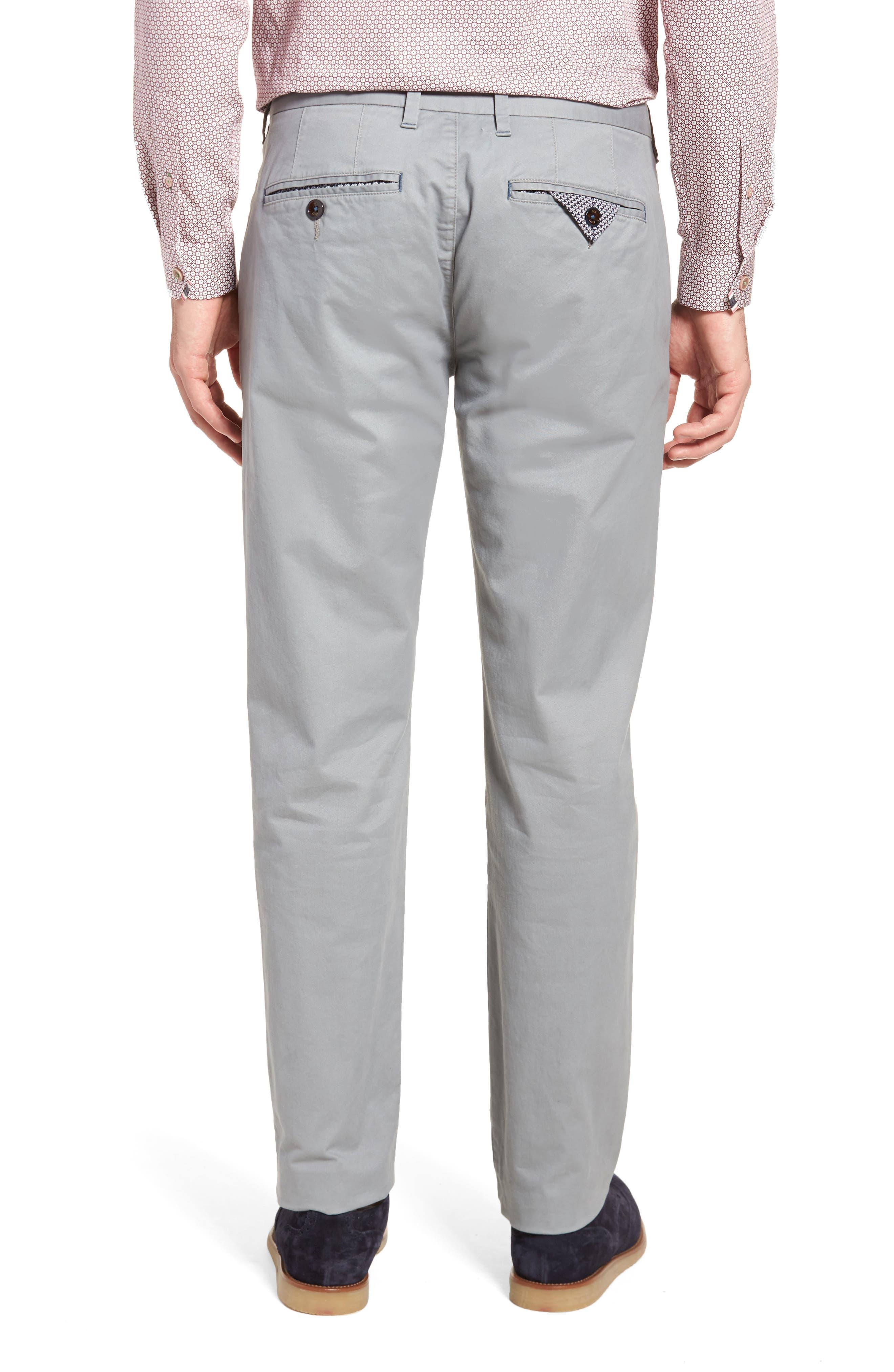 Proctt Flat Front Stretch Solid Cotton Pants,                             Alternate thumbnail 2, color,                             Light Grey