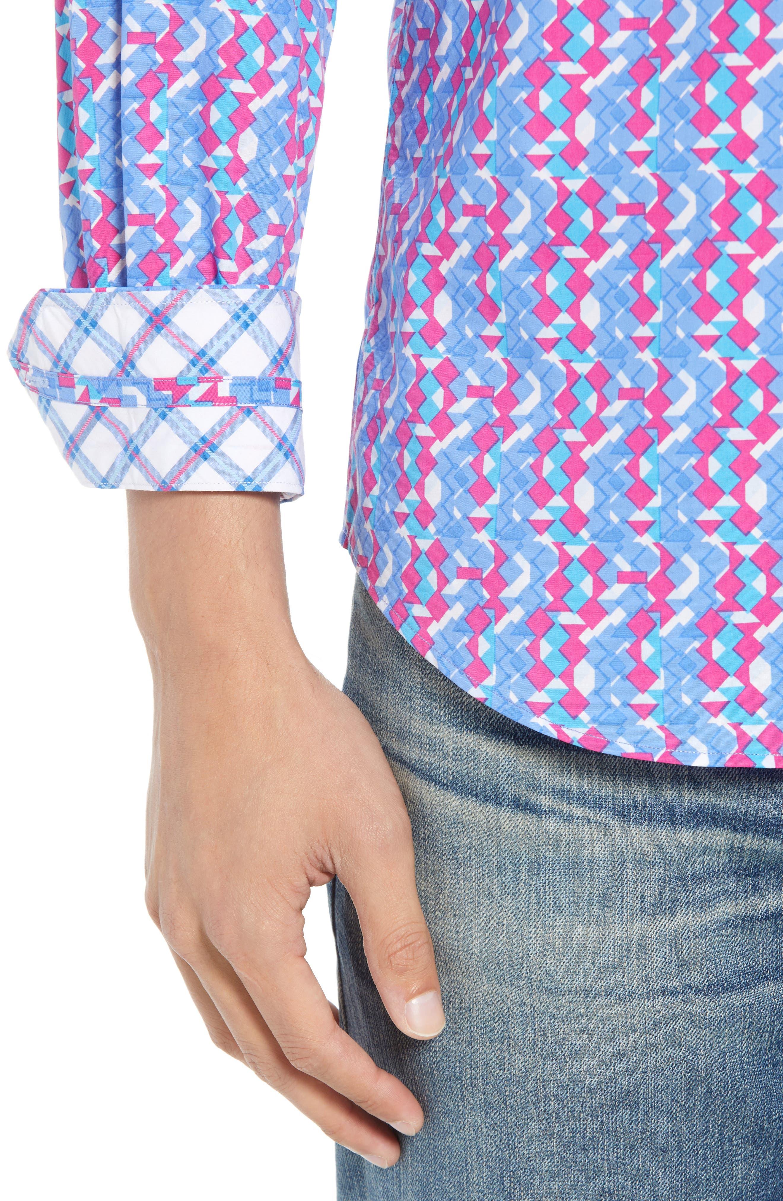 Beal Regular Fit Geo Print Sport Shirt,                             Alternate thumbnail 3, color,                             Peri Blue
