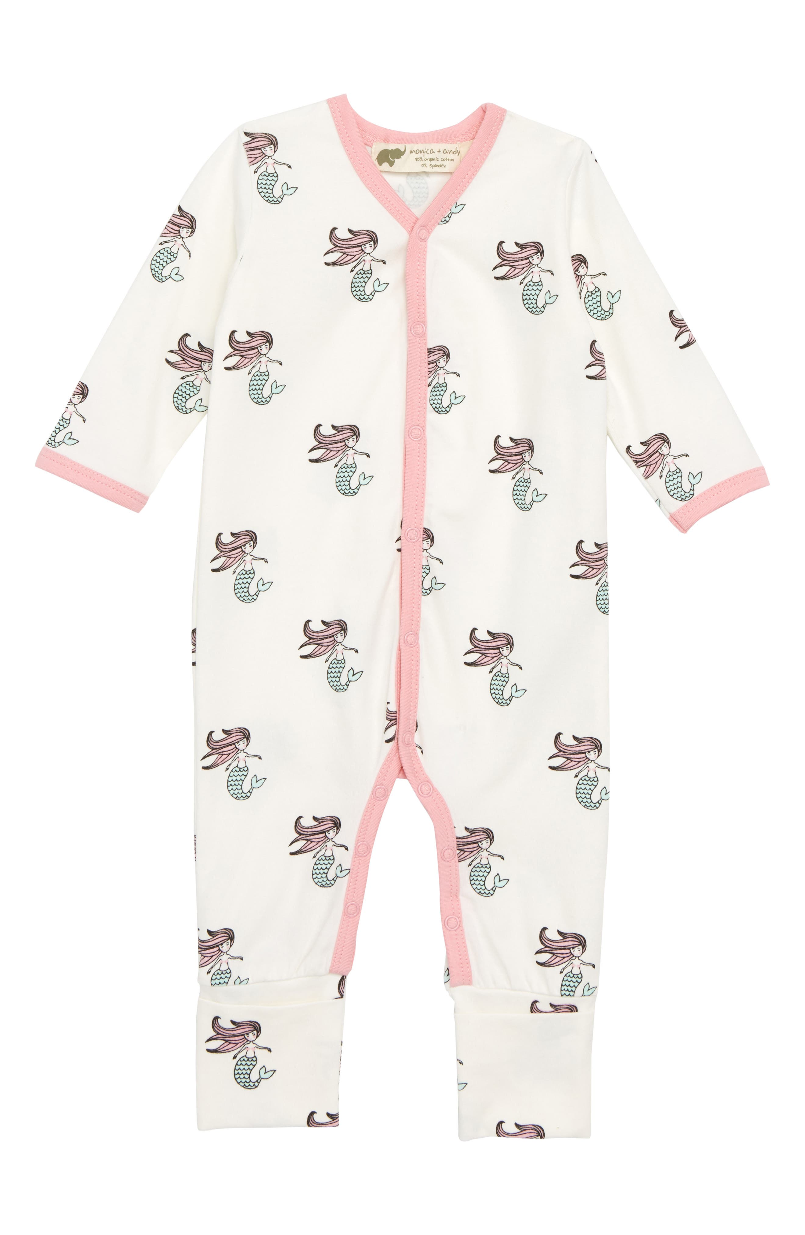 On the Go Organic Cotton Romper,                         Main,                         color, Ocean Tails